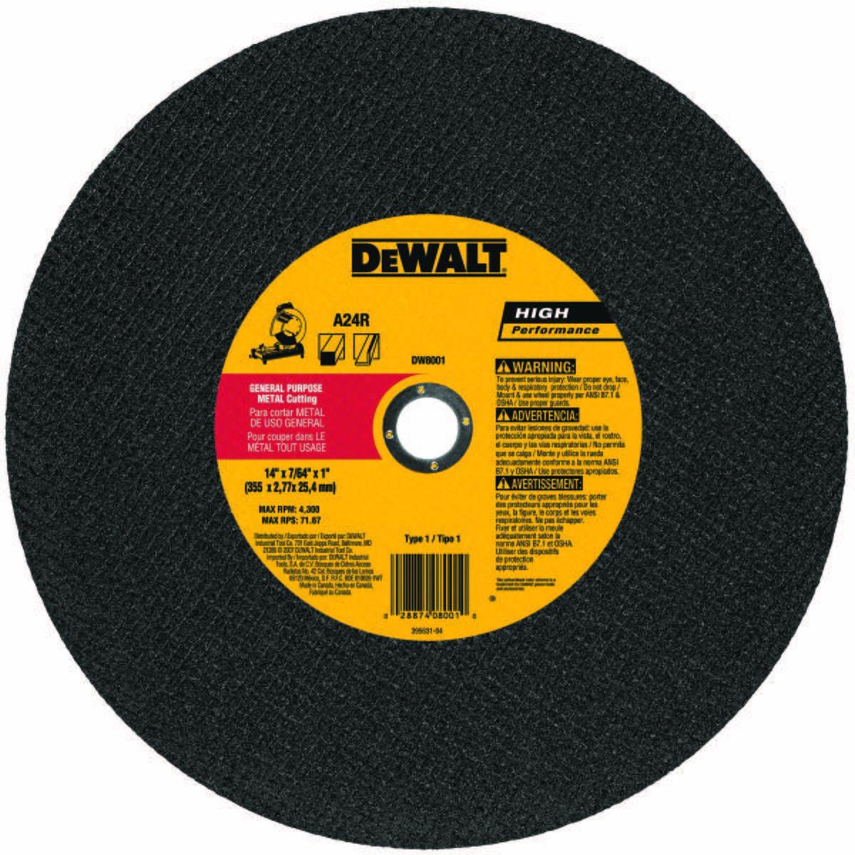 Abrasive Cut-Off Wheel, Abrasive Wheel Type Type 1, Abrasive Wheel Diameter 14 In., Thickness 7/64 In.