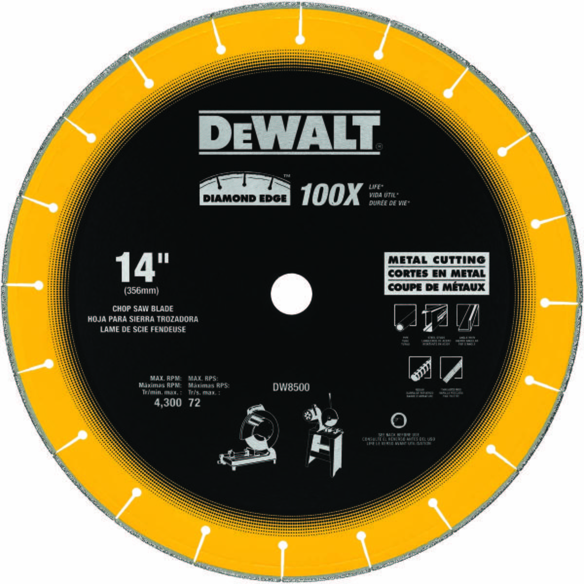 "14"" X 7/64"" X 1"" DIAMOND EDGE CHOP SAW BLADE"