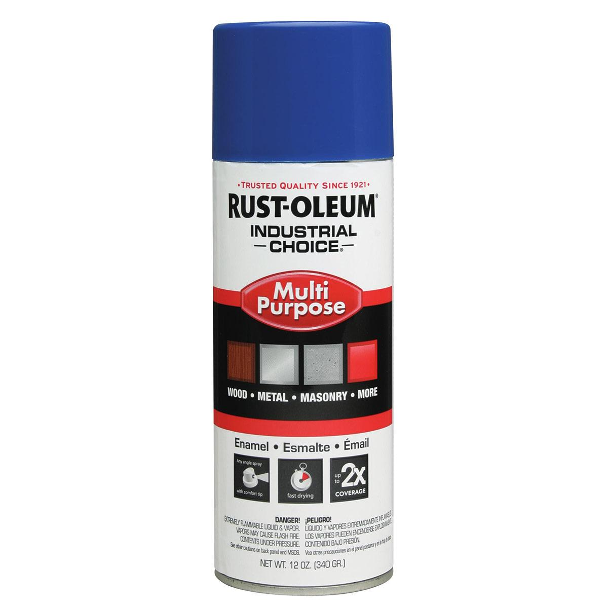Rust-Oleum® Industrial Choice® 1624830 12 oz Aerosol Can Solvent Based Multi-Purpose Alkyd Enamel Spray Paint, Gloss Safety Blue