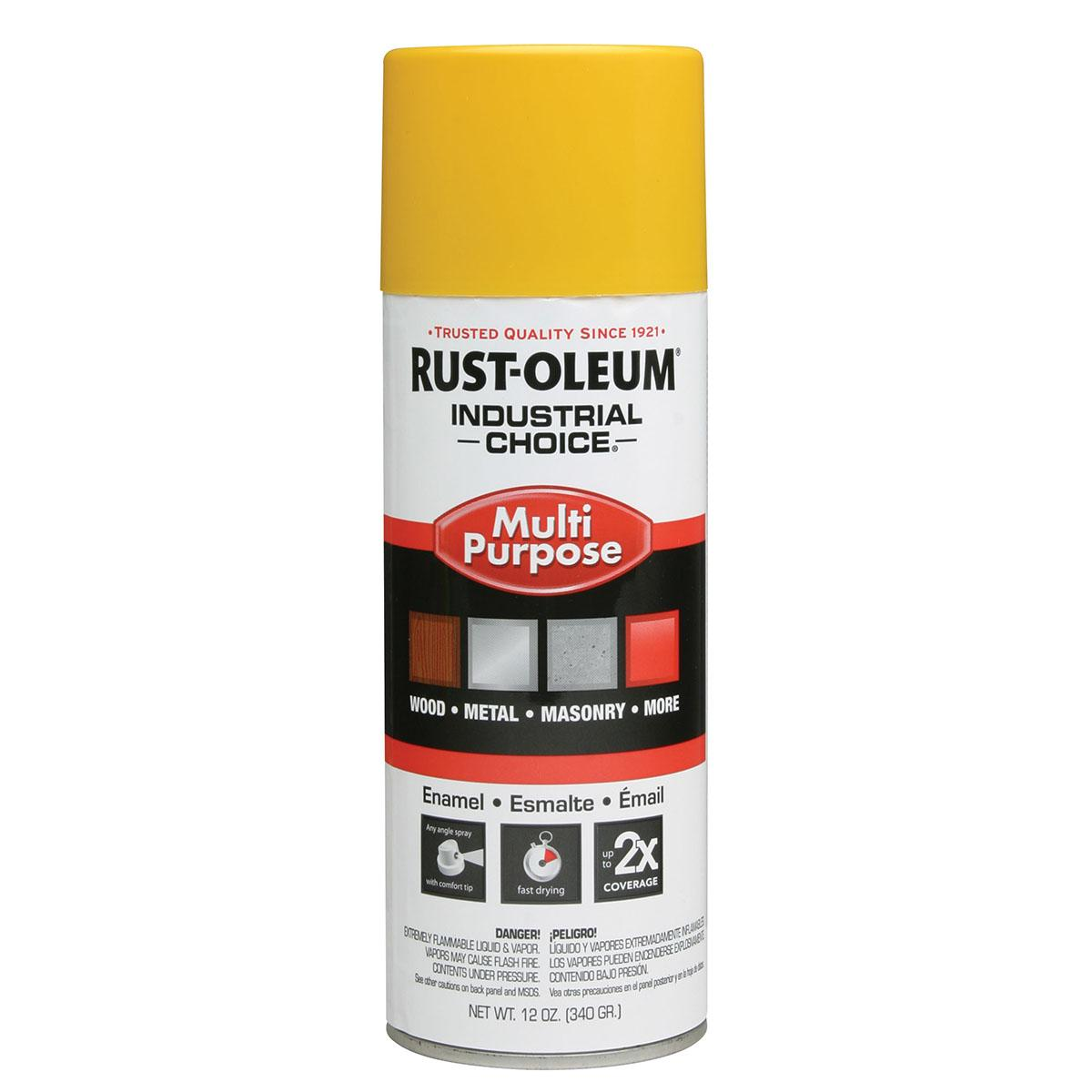 Rust-Oleum® Industrial Choice® 1644830 12 oz Aerosol Can Solvent Based Multi-Purpose Alkyd Enamel Spray Paint, Gloss Safety Yellow
