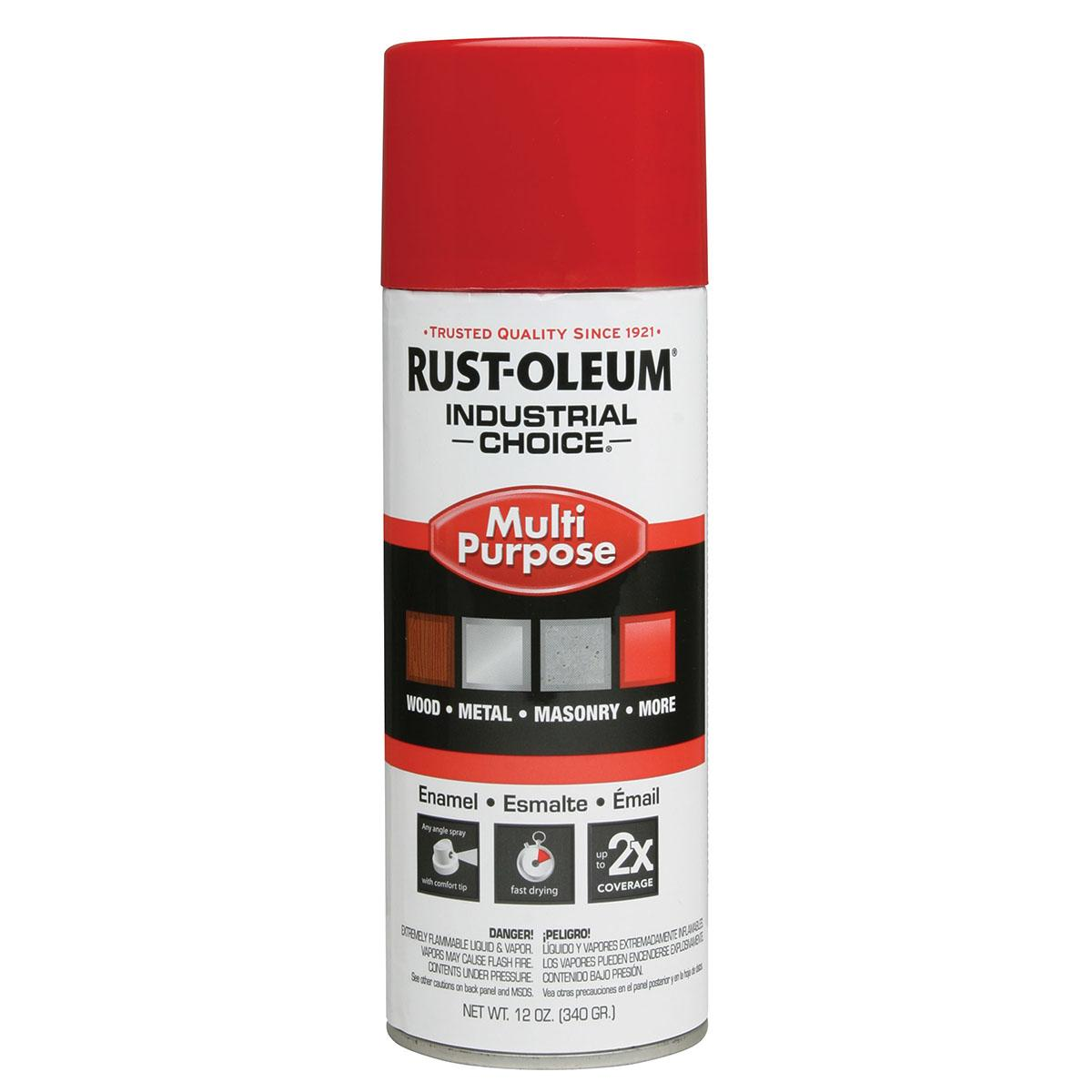 Rust-Oleum Spray Paint: OSHA Safety Red, Gloss, 1 hr Dry Time, 12 to 15 sq ft, 12 fl oz