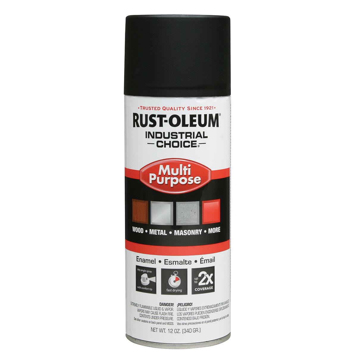 Rust-Oleum Spray Paint: Black, Ultra Flat, 1 hr Dry Time, 12 to 15 sq ft, 12 fl oz Container Size