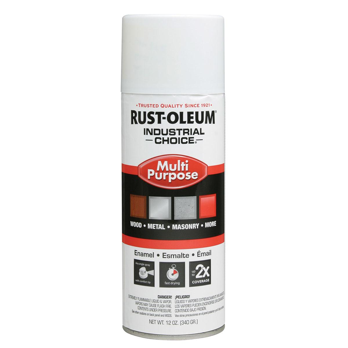 Rust-Oleum Spray Paint: White, Gloss, 1 hr Dry Time, 12 to 15 sq ft, 12 fl oz Container Size