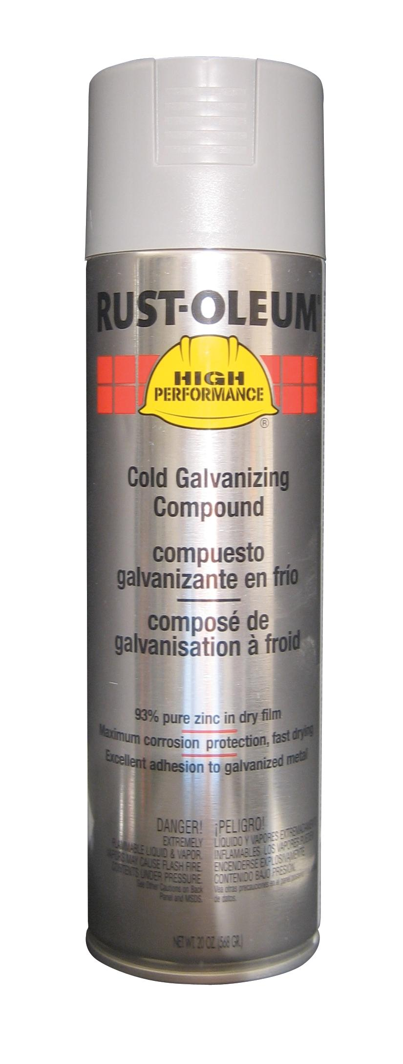Rust-Oleum Galvanizing Paint: Spray Paint, Galvanized, Flat, 2 hr Dry Time, 24 sq ft, 15 fl oz Container Size