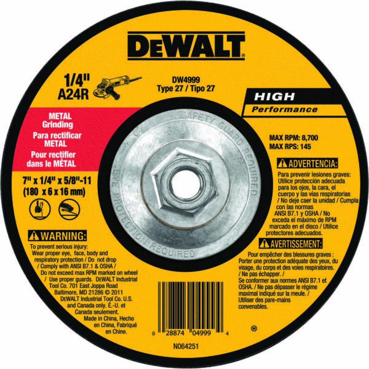 Depressed Center Wheels, Abrasive Wheel Type Type 27, Abrasive Wheel Diameter 7 In., Thickness 1/4 In., Arbor Hole Size 5/8 In.-11