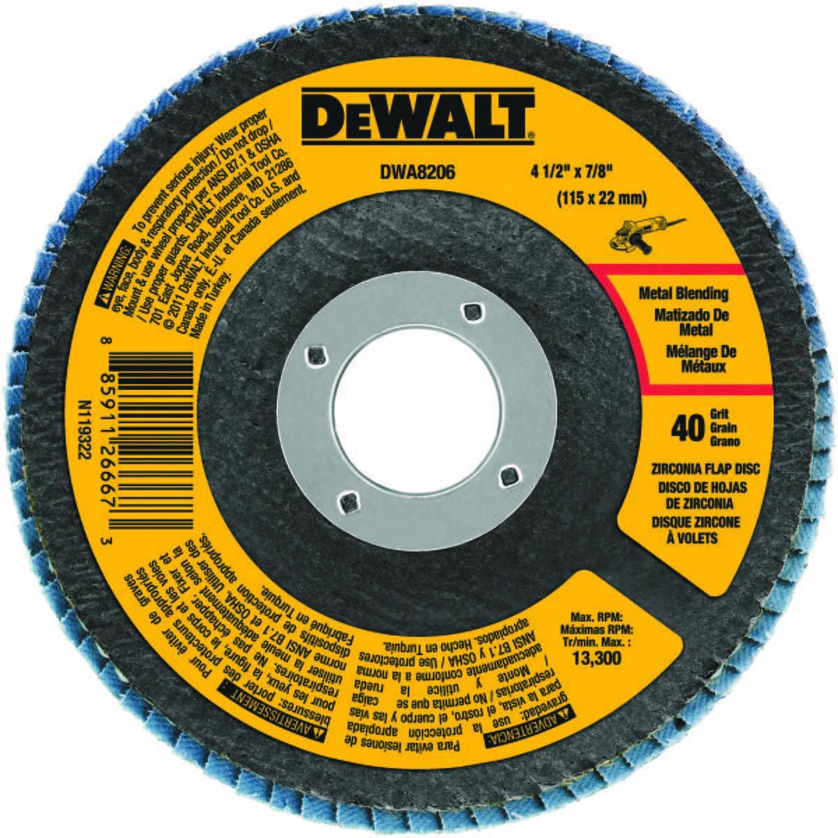 """4-1/2"""" x 7/8"""" 40 Grit Zirconium T29 Flap Disc"""