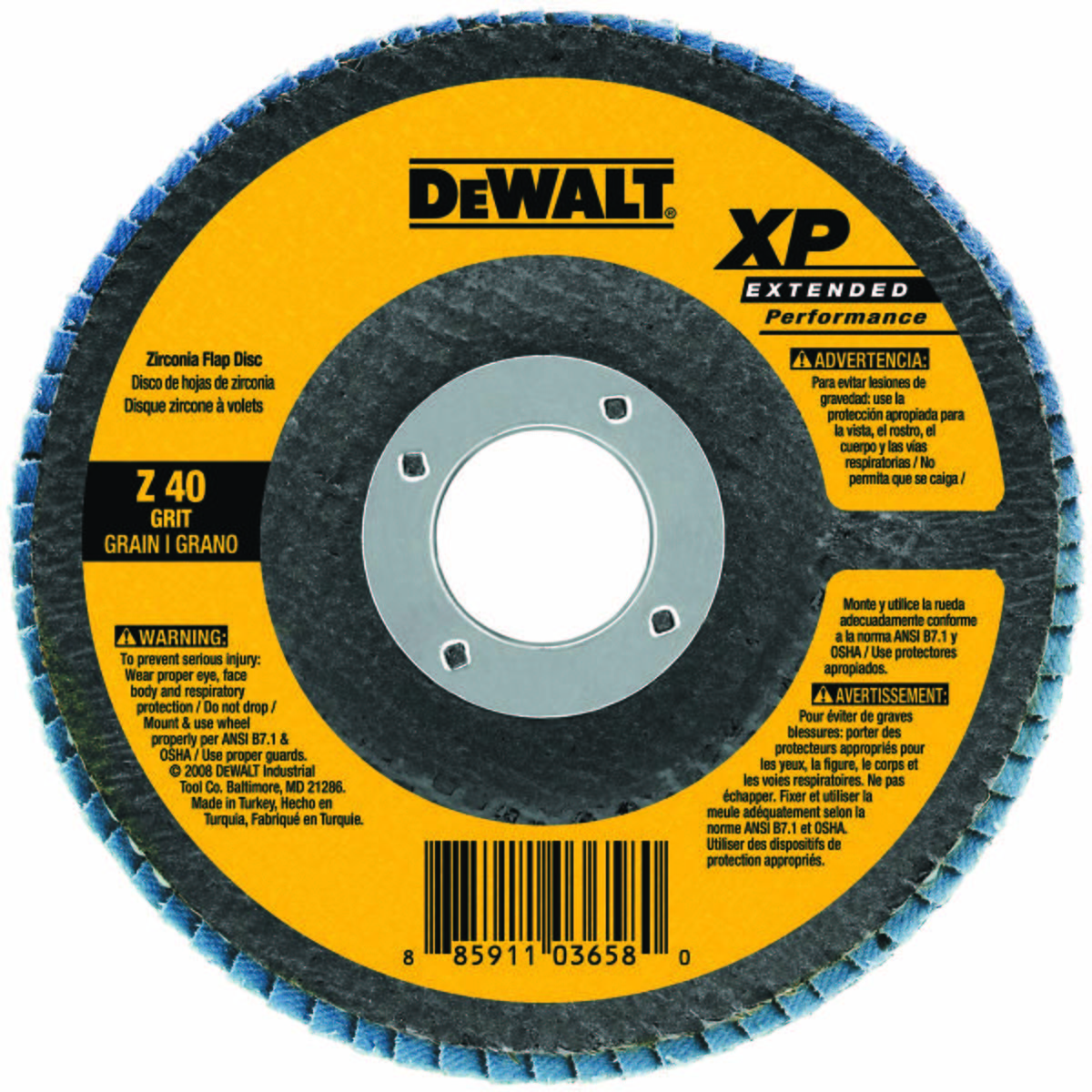 Abrasive Flap Disc, Abrasive Material Zirconia Alumina, Series XP Extended Performance, Max. RPM 13,300 FLAP DISC, DIA. 4.5 IN, AH 7/8 IN, 60 GRIT