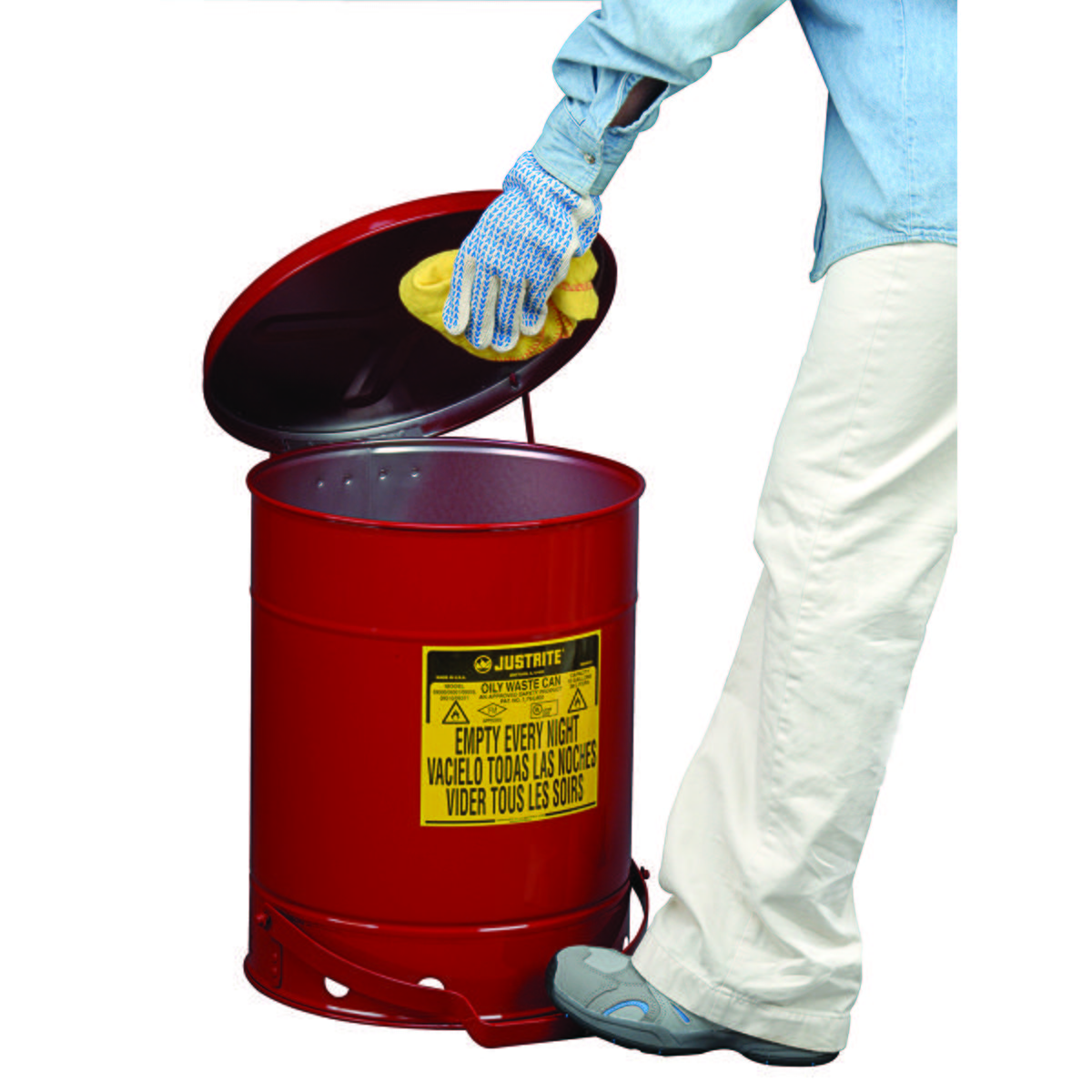 Oily Waste Can, 10 gallon, foot-operated self-closing cover, Red.