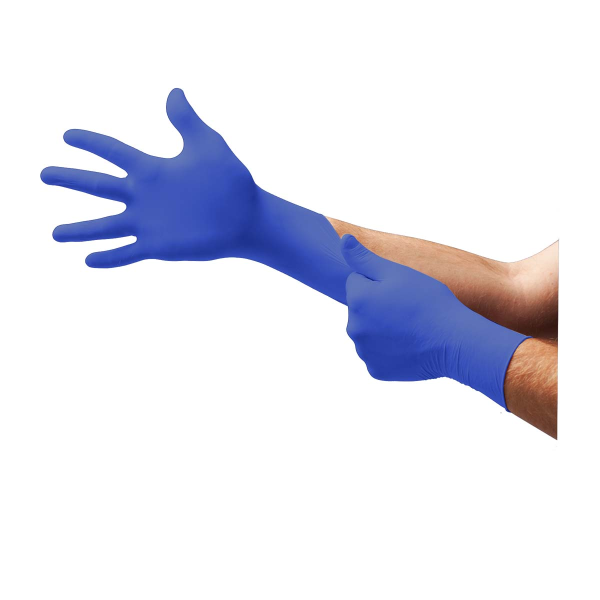 N272, BLUE NITRILE, POWDER-FREE INDUSTRIAL-GRADE GLOVES, NON-STERILE, AMBIDEXTROUS, FULLY TEXTURED, BEADED CUFF,  FOR SINGLE USE ONLY, NON-LATEX, FOR NON-MEDICAL USE, SZ M