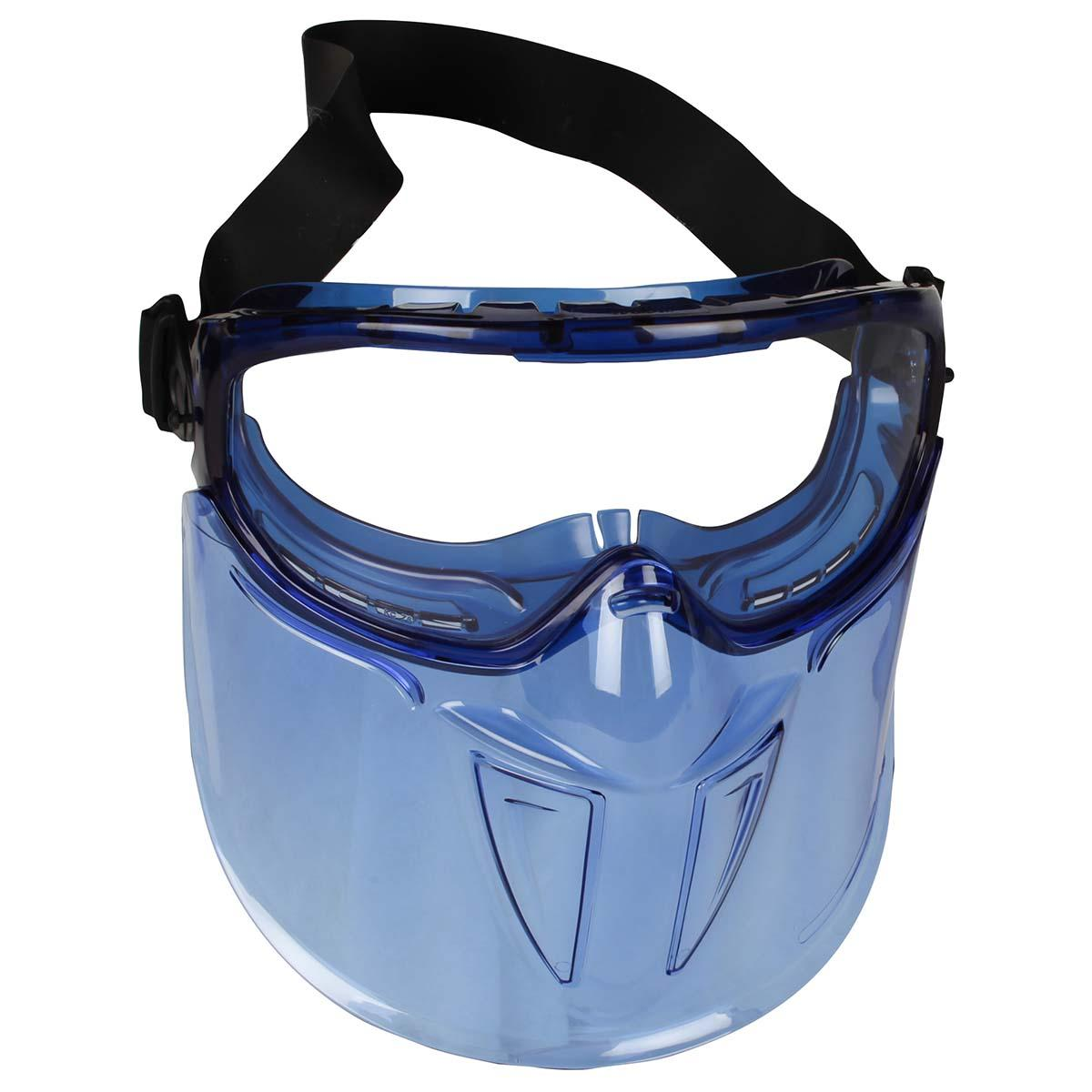 """Jackson Safety V90 """"The Shield"""" Safety Goggles with Face Shield (18629), Clear Anti-Fog Lens with Blue Frame, 6 Pairs / Package"""