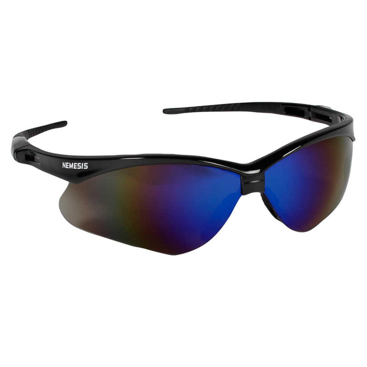 Jackson Safety V30 Nemesis Safety Glasses (14481), Blue Mirror Lenses with Black Frame, 12 Pairs / Case