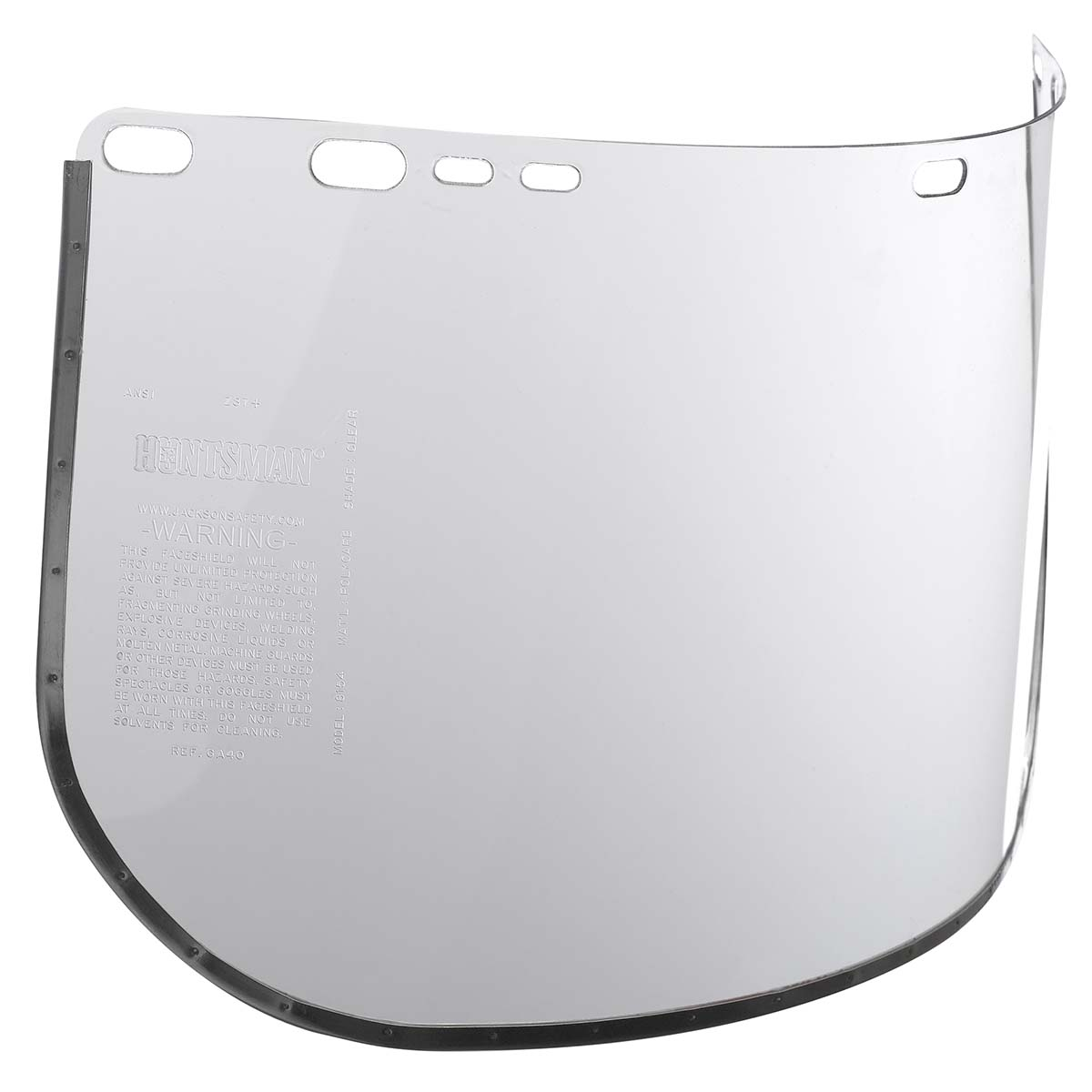 """Jackson Safety F20 High Impact Face Shield (29096), Polycarbonate, 8"""" x 15.5"""" x 0.04"""", Clear, Face Protection, Bound, 25 Shields / Case"""
