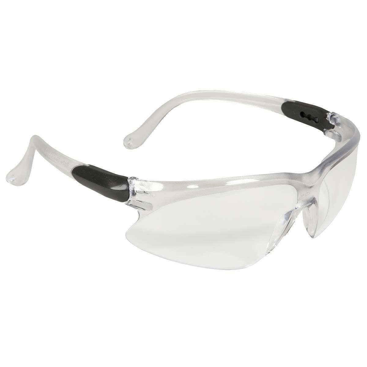 Jackson Safety Visio Safety Eyewear (14471), Economical Glasses, UV Protection, Anti-Fog, Clear Lenses, 3-Point Extendable Silver Temples, 12 Pairs / Case