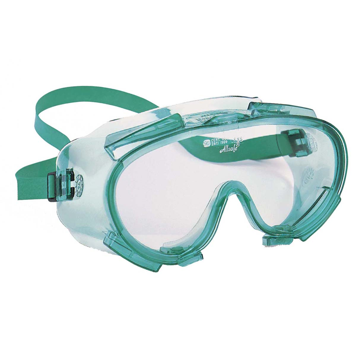 Jackson Safety V80 Monogoggle 211 Goggle Protection (14387), Anti-Fog Clear Lens, Green Frame, 36 Pairs / Case