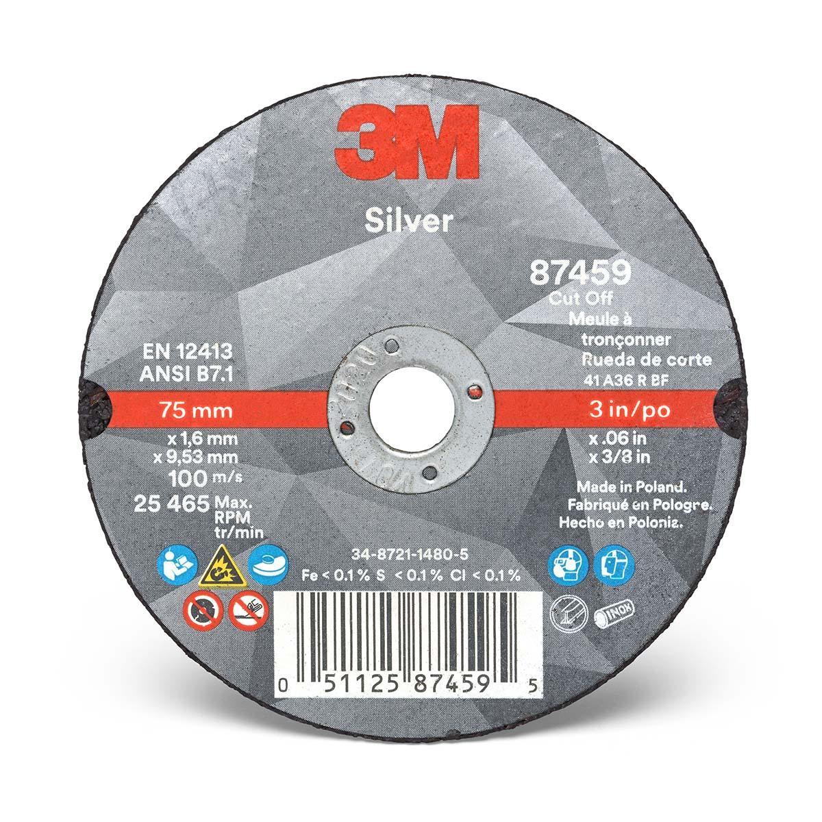 3M Silver Cut-Off Wheel 87459  T1  3 in x .060 in x 3/8 in