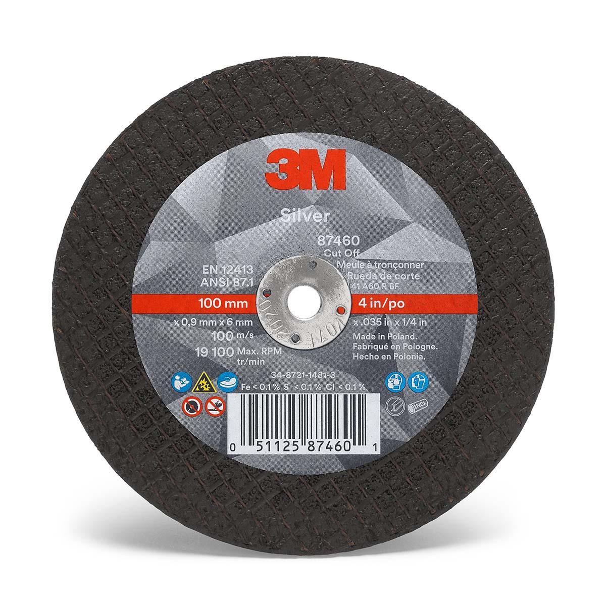 """3Mâ""""¢ Silver Cut-Off Wheel 87460, T1, 4 in x .035 in x 1/4 in, 25 per inner 5"""
