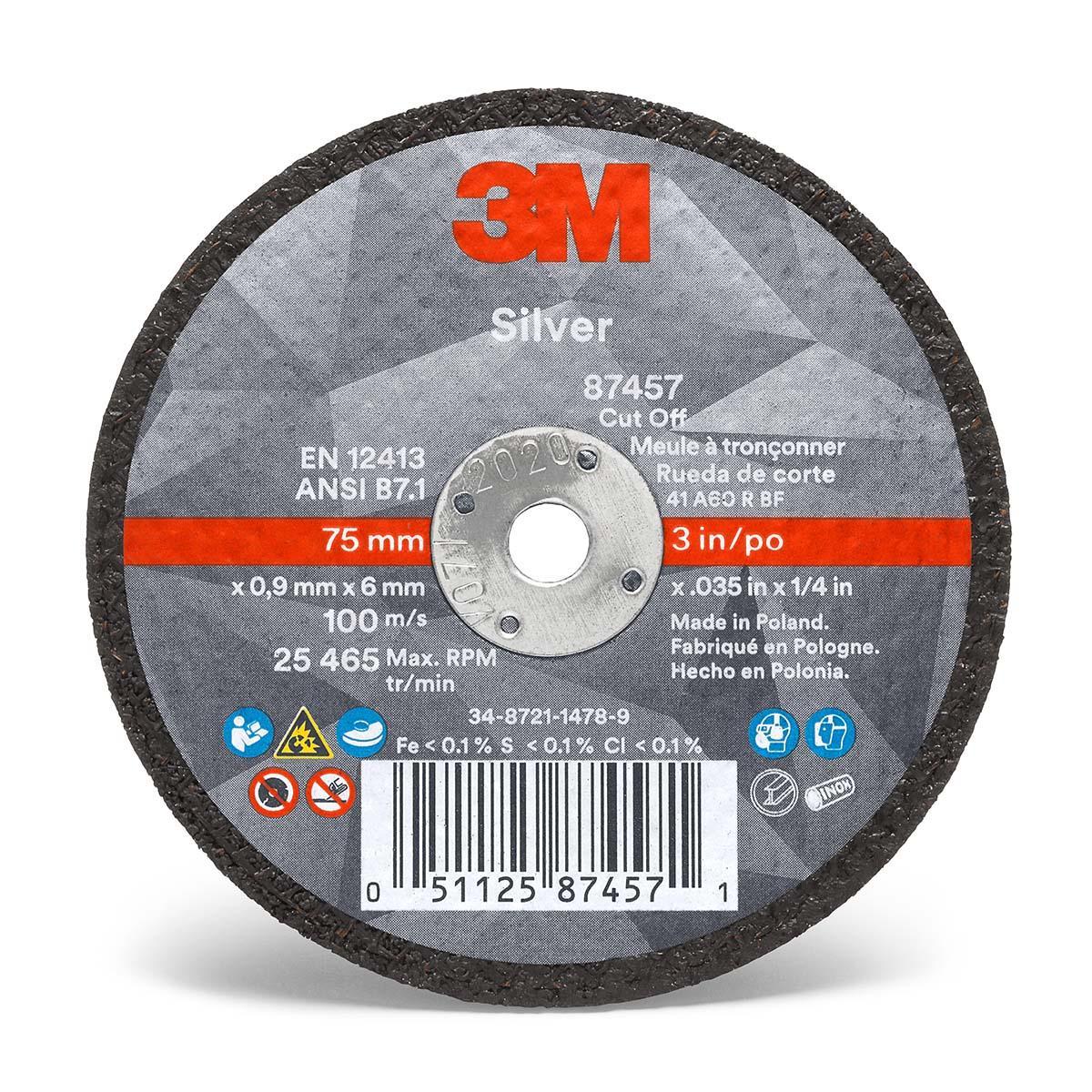 3M Silver Cut-Off Wheel 87457  T1  3 in x .035 in x 1/4 in