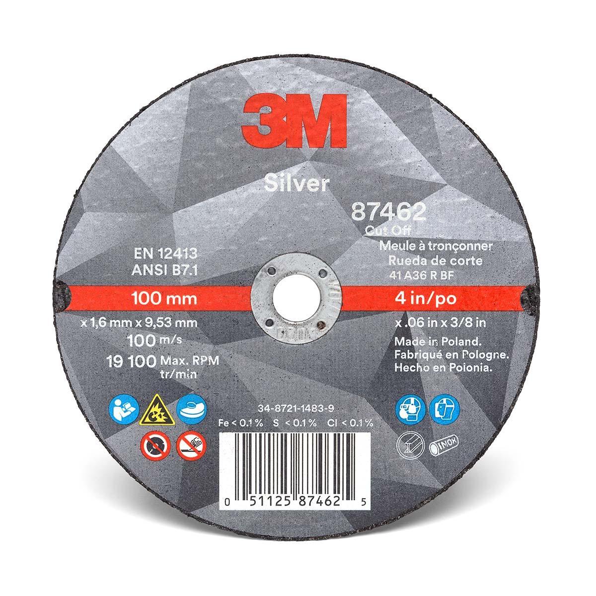 """3Mâ""""¢ Silver Cut-Off Wheel 87462, T1, 4 in x .060 in x 3/8 in, 25 per inner 5"""