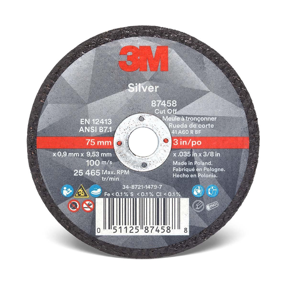 3M Silver Cut-Off Wheel 87458  T1  3 in x .035 in x 3/8 in