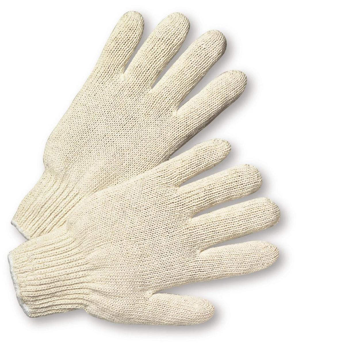 Glove Natural white string knit, 7-cut cotton/polyester, standard