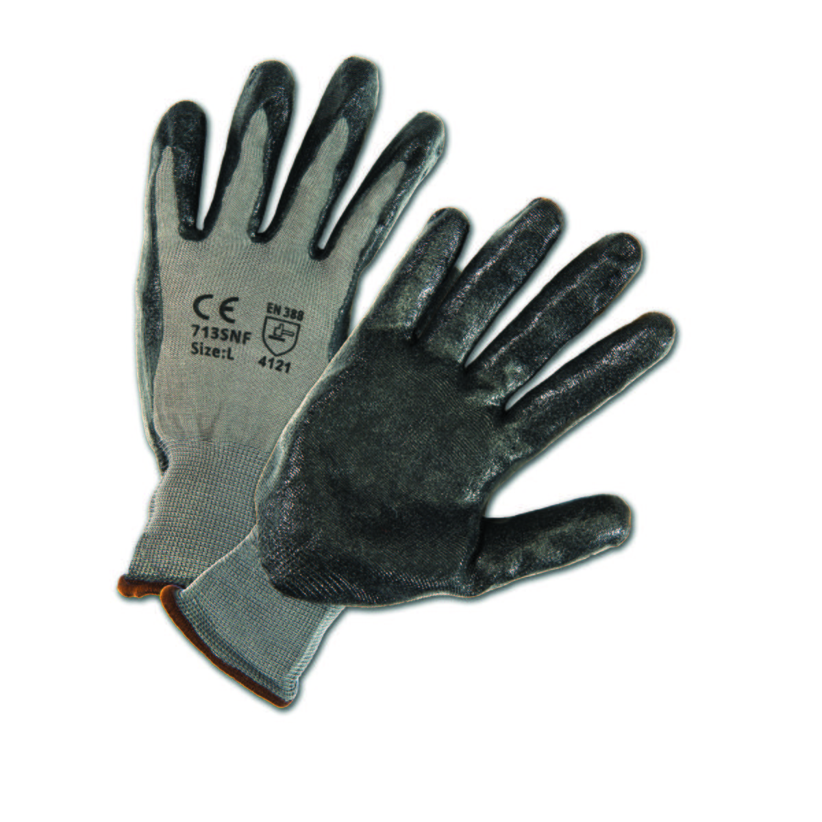 Glove Hi-dexterity foam nitrile on a gray nylon knit shell, knit wrist, machine washable