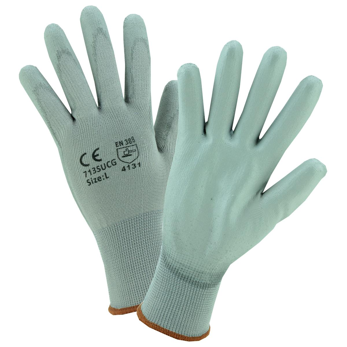 Gray nylon shell with polyurethane, knit wrist, machine washable Gloves