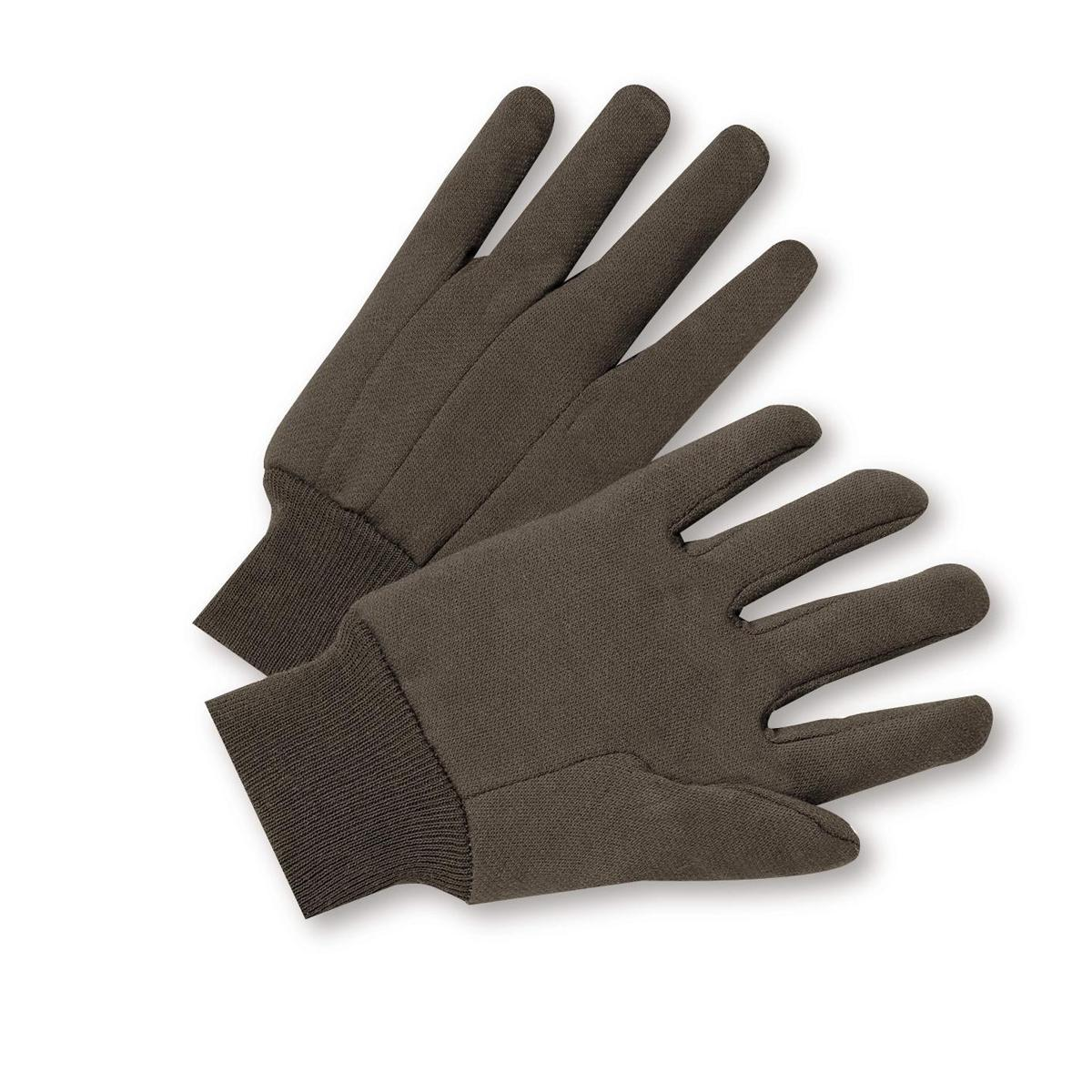 Brown Jersey, standard weight poly/cotton Gloves