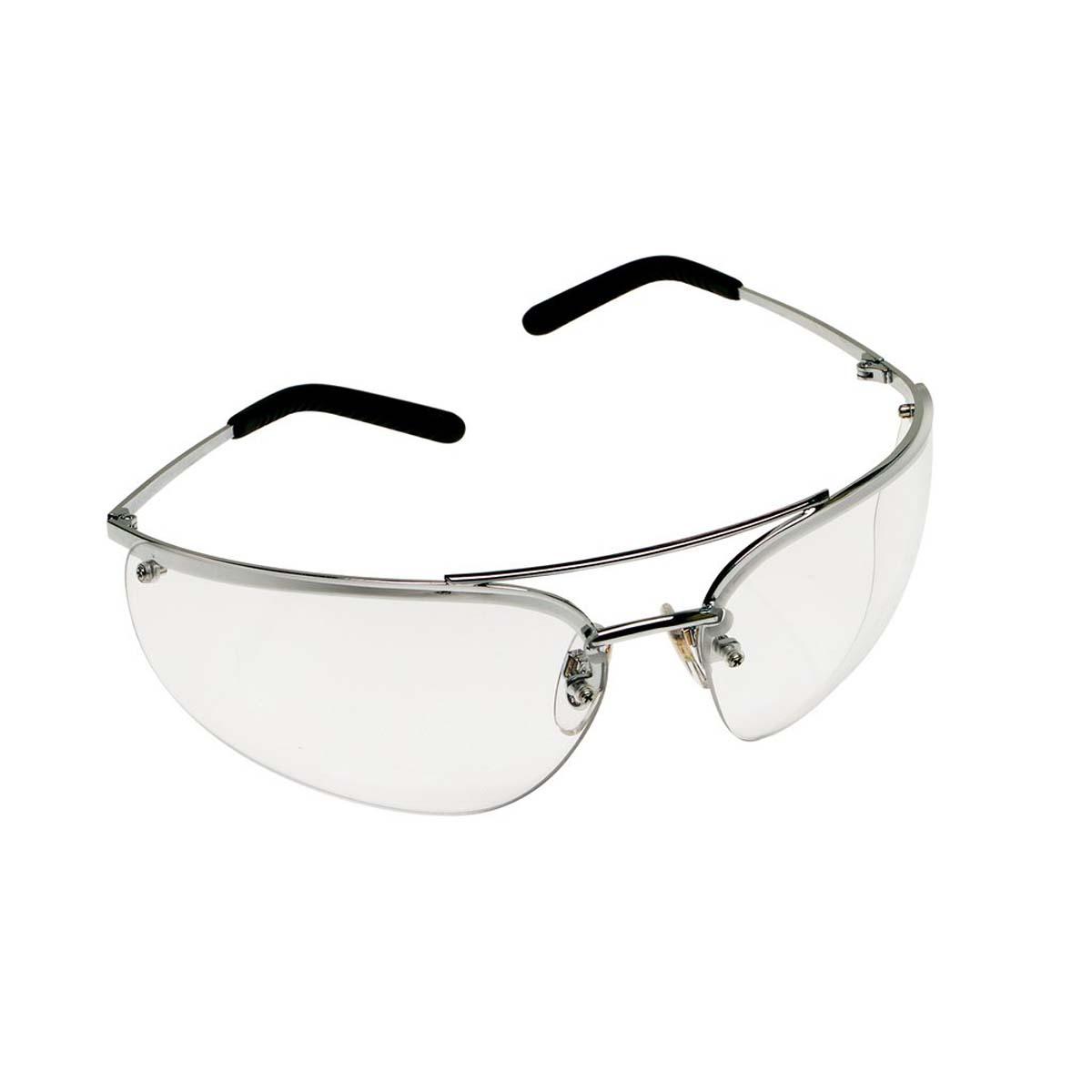 "3Mâ""¢ Metaliksâ""¢ Protective Eyewear 15170-10000-20 Clear Anti-Fog Lens, Polished Metal Frame"