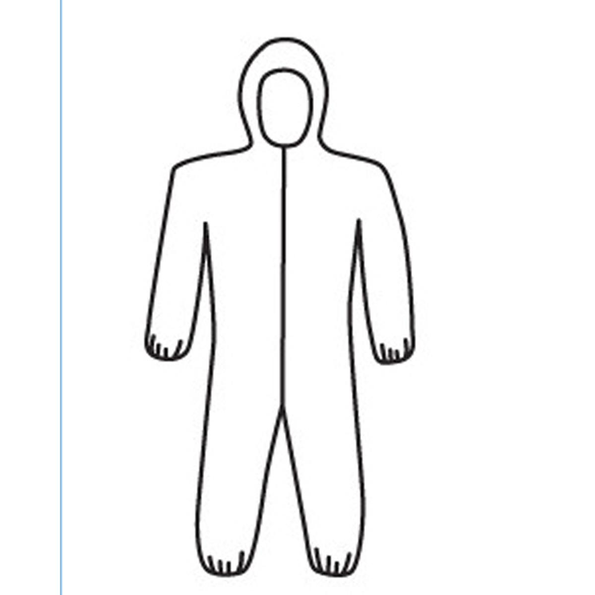 Protective Clothing Posi Wear BA - Microporous Coverall, zipper front w/Elastic Wrist/Ankle and attached Hood