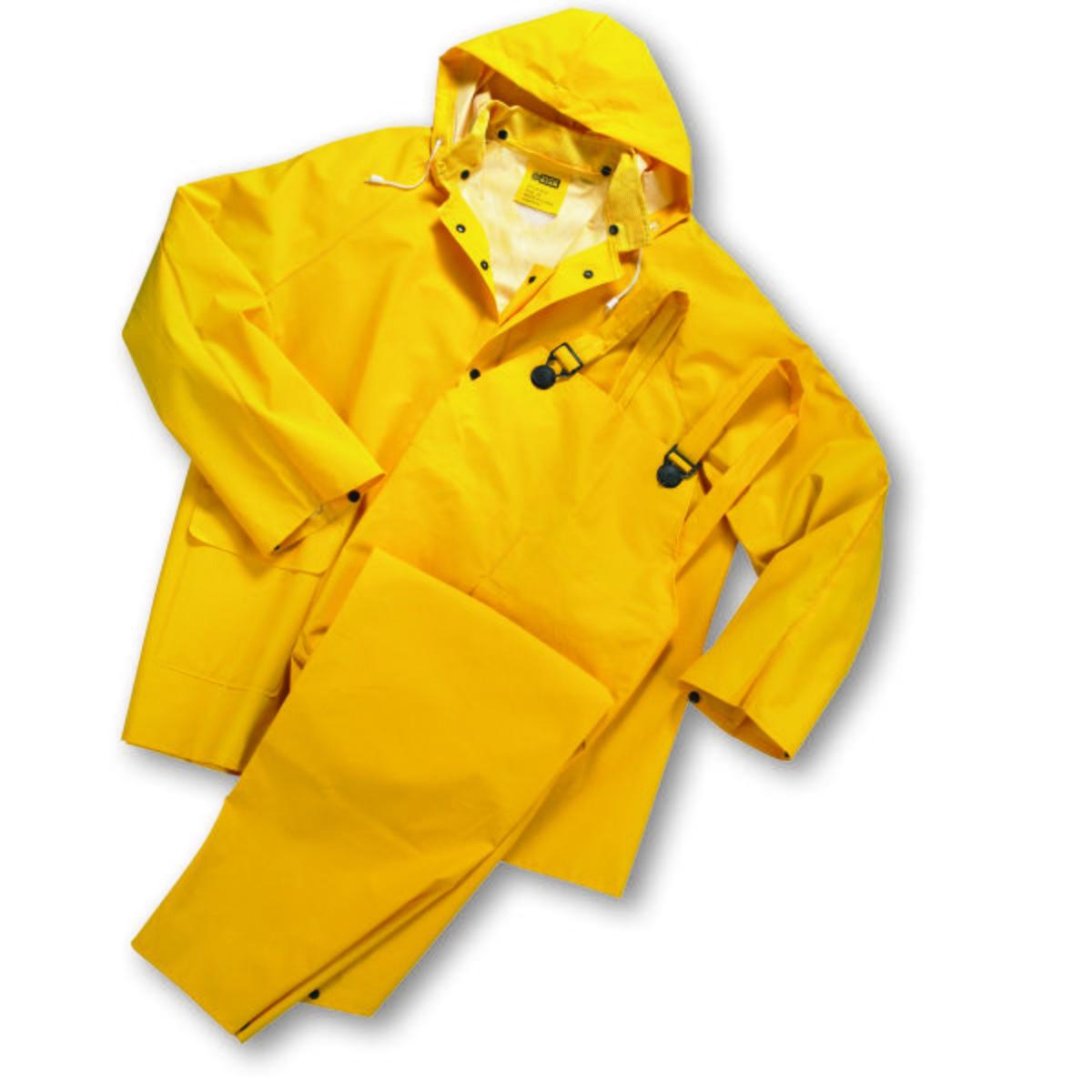 Rainwear 35ml PVC over Polyester 3pcs Rainsuit - Yellow