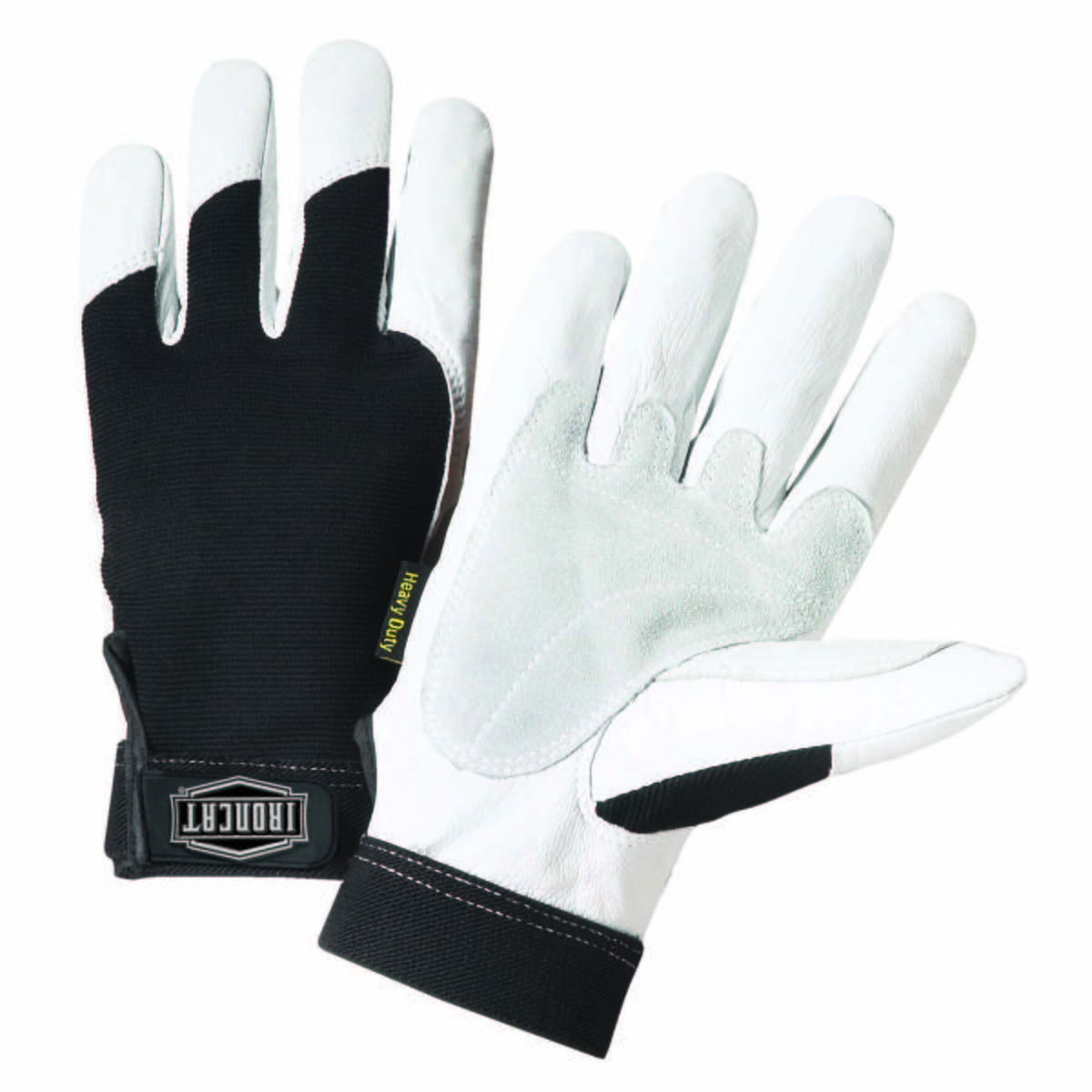 Grain goat with spandex  back and split reinforced palm and thumb.  Hook and loop elastic wrist with logo TPR closure Gloves