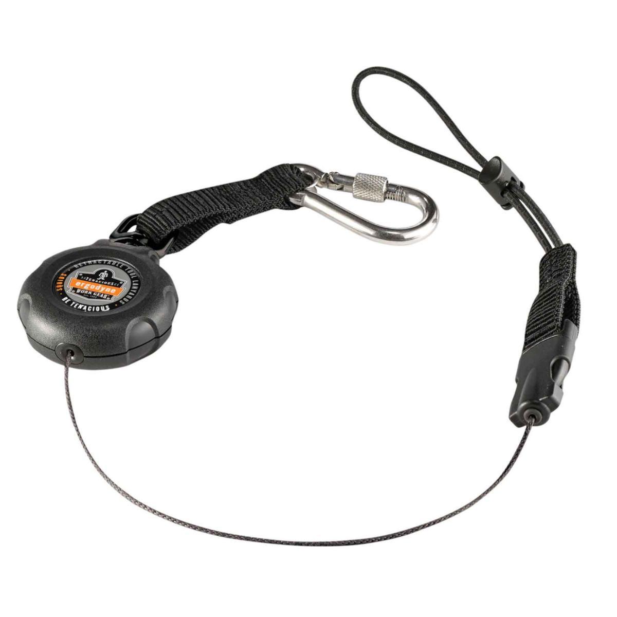 3001 Standard Black Retractable Single Carabiner w/loop end - 2lb