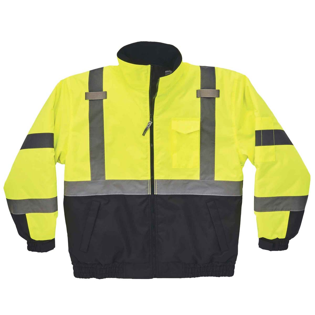 8377 L Lime Type R Class 3 Quilted Bomber Jacket