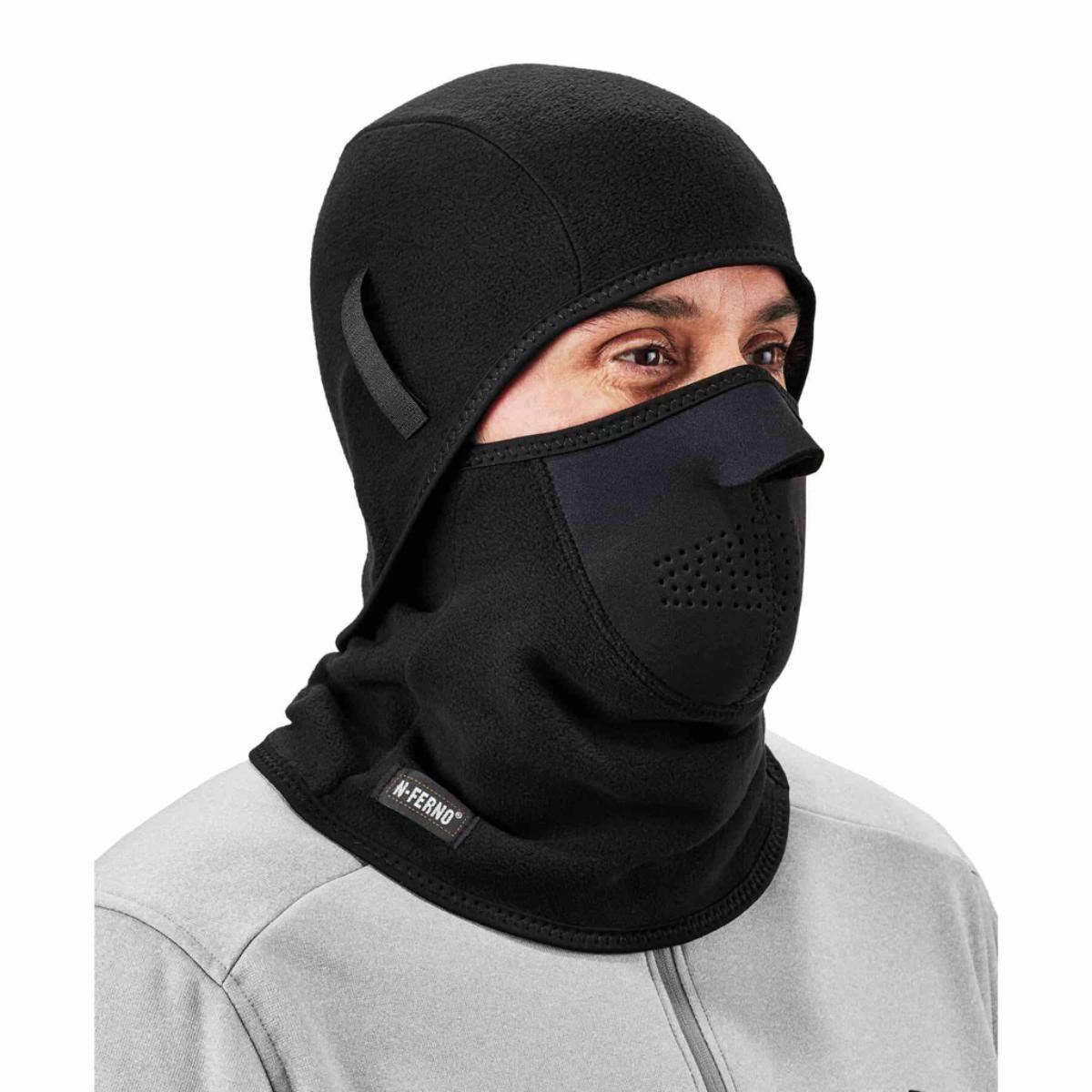 6827  Black 2-pc Fleece/Neoprene Balaclava