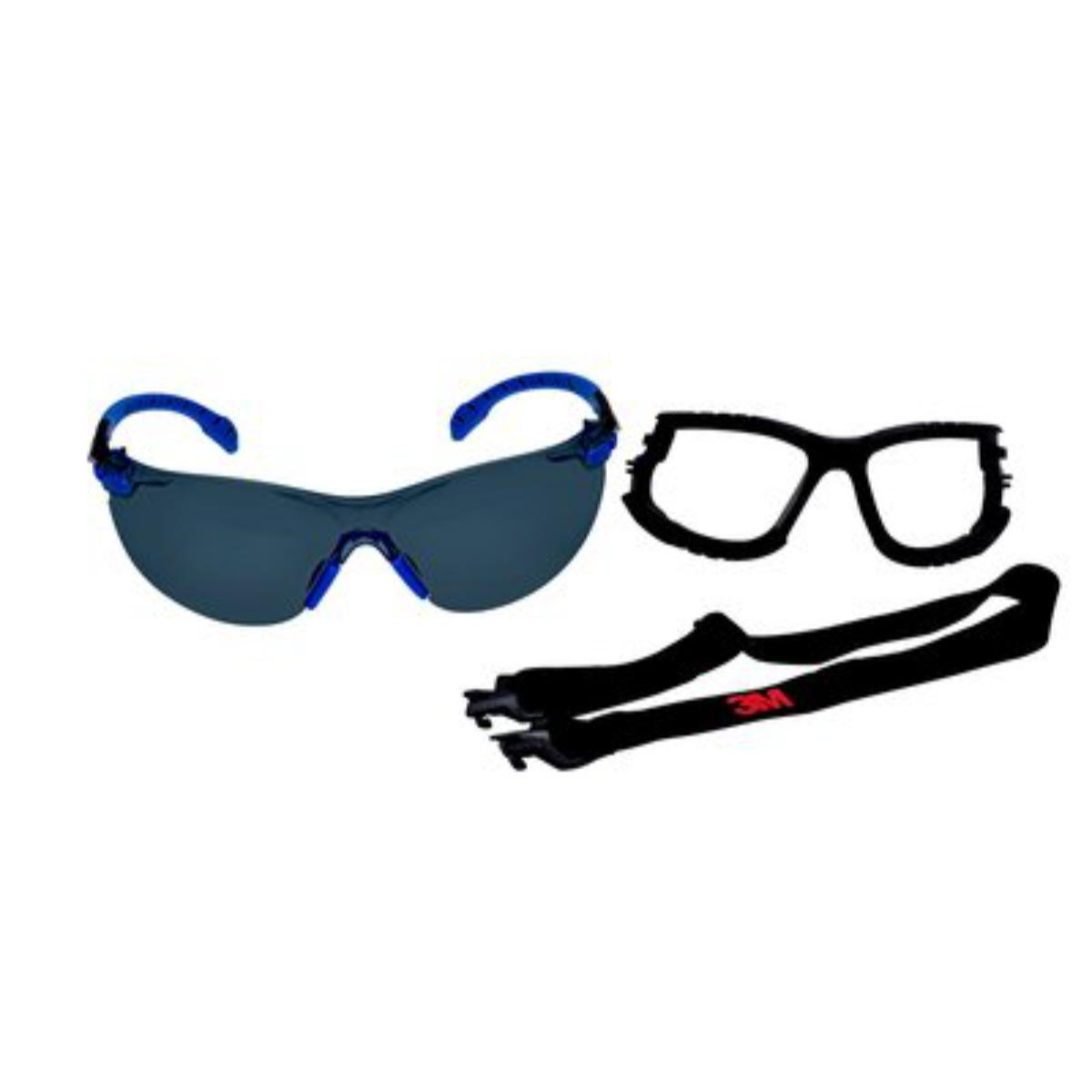 """3Mâ""""¢ Solusâ""""¢ 1000-Series S1102SGAF-KT Foam Strap, Black/Blue, Grey Scotchgardâ""""¢ Anti-fog Lens, 20 EA/Case"""