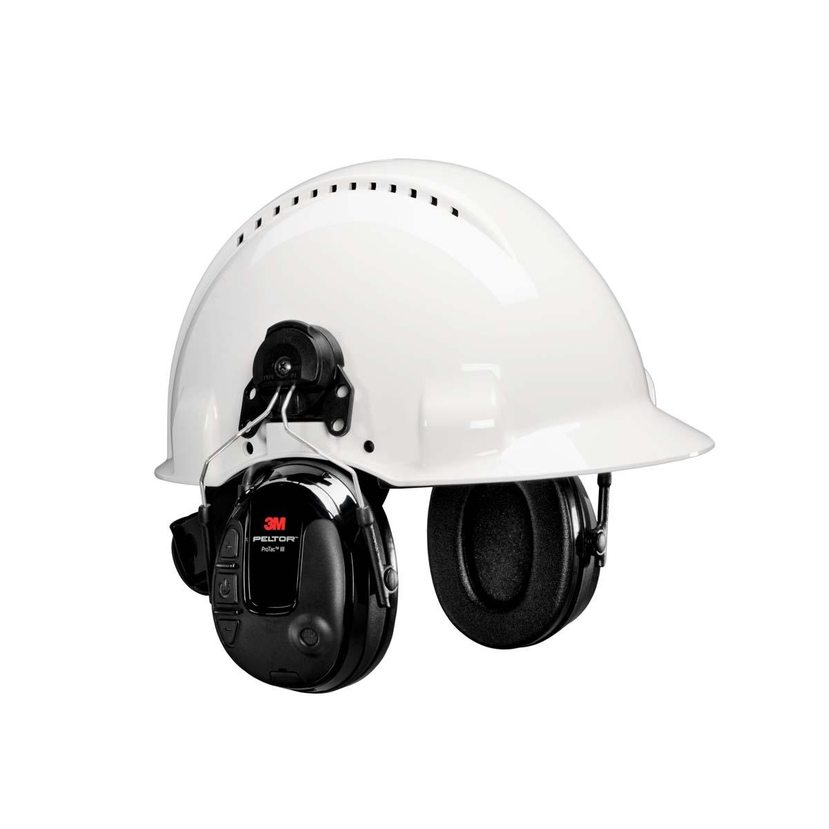 3M PELTOR ProTac III Slim Headset  Black ? Hard Hat Attached