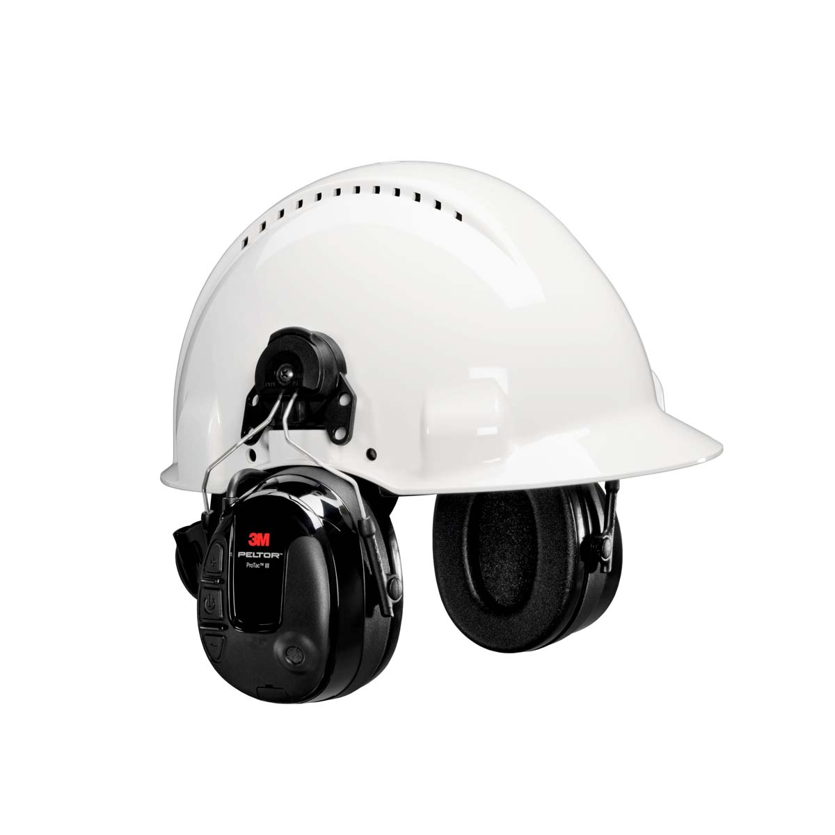 3M PELTOR ProTac III Headset  Black ?Hard Hat Attached