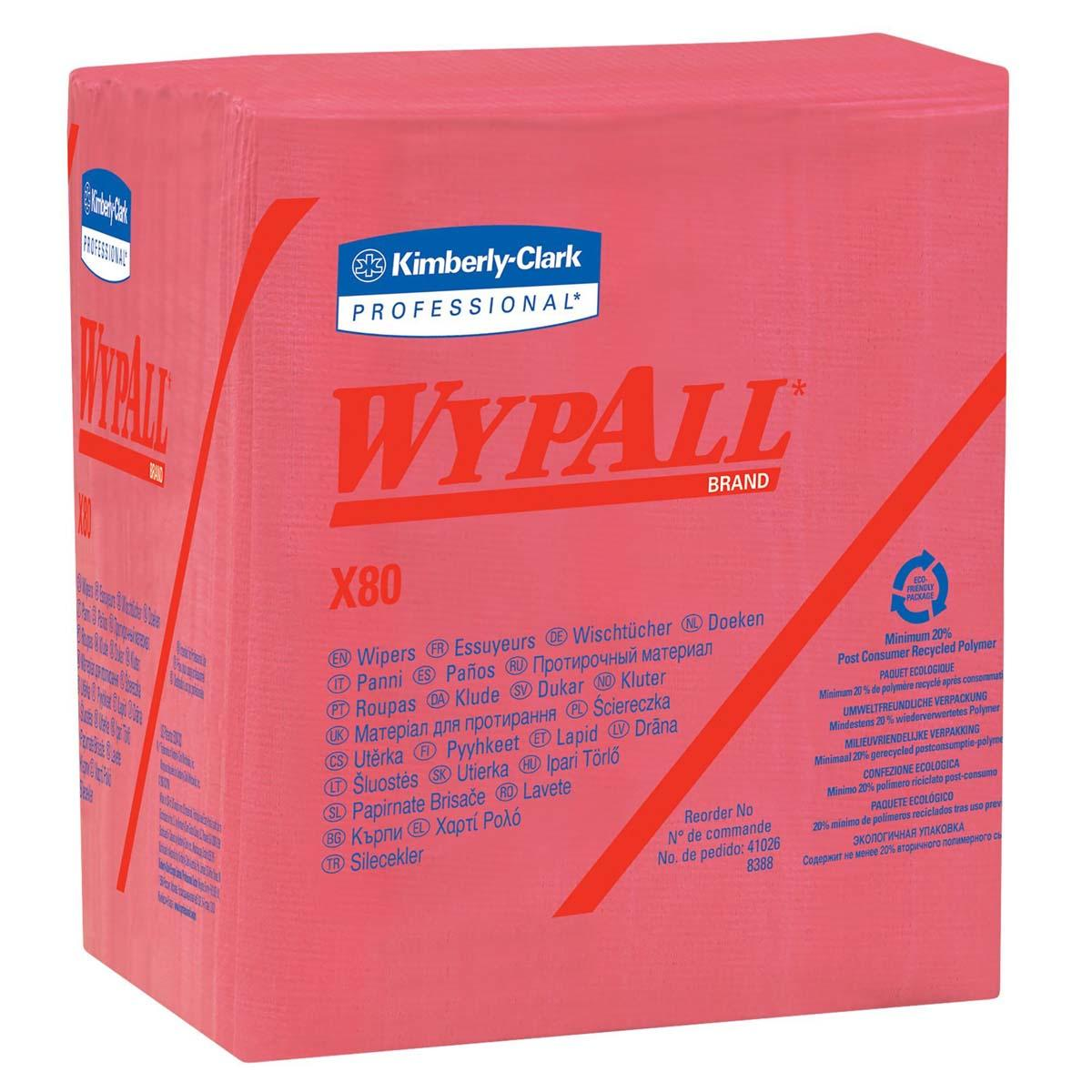 Wypall X80 Reusable Wipes (41029), Extended Use Wipers Quarter-fold Format, Red, 50 Sheets / Pack; 4 Packs / Case; 200 Folded Sheets / Case