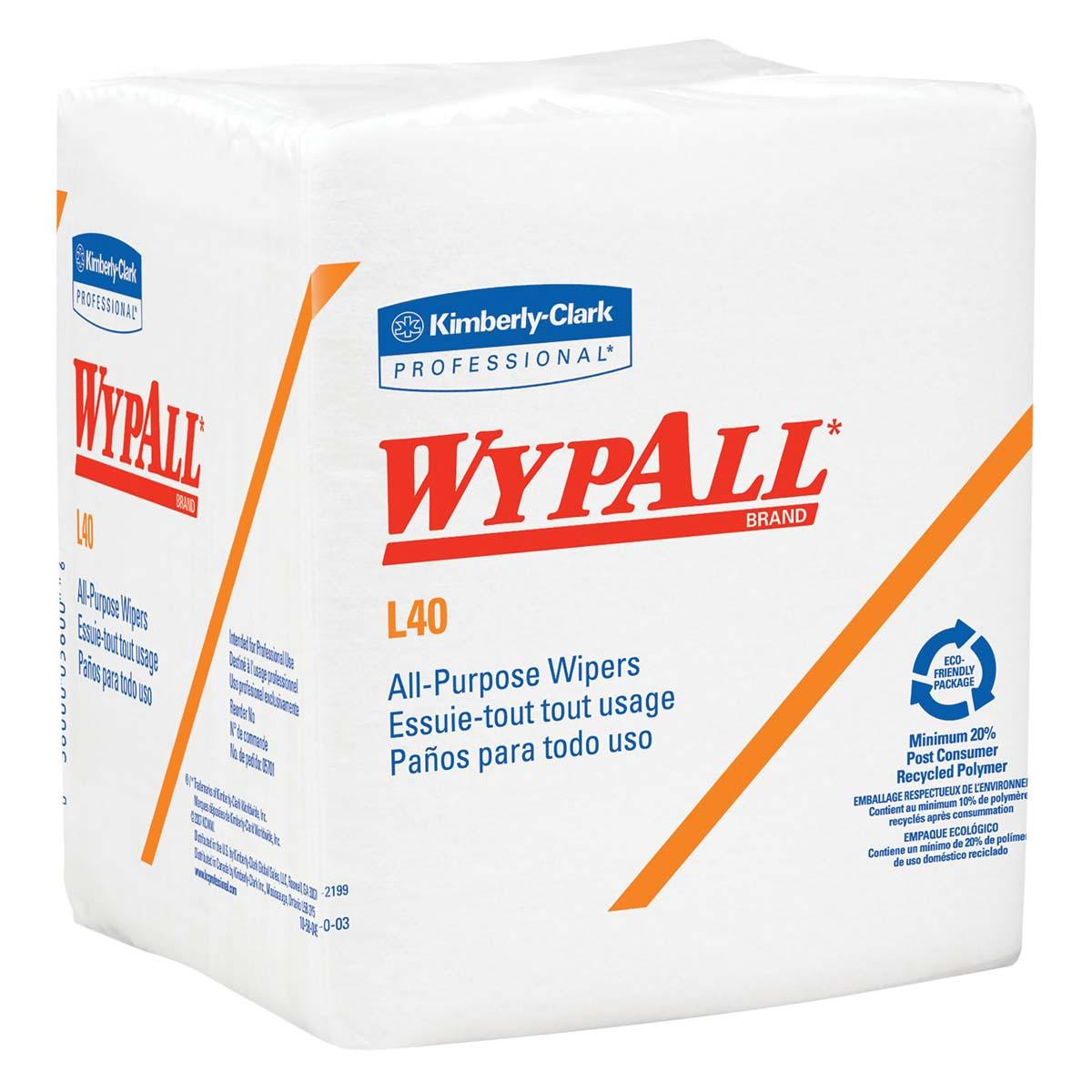 WypAll L40 Disposable Cleaning and Drying Towels (05600), Limited Use Wipers, White, 12 Packs per Case, 56 Sheets per Pack, 672 Sheets Total
