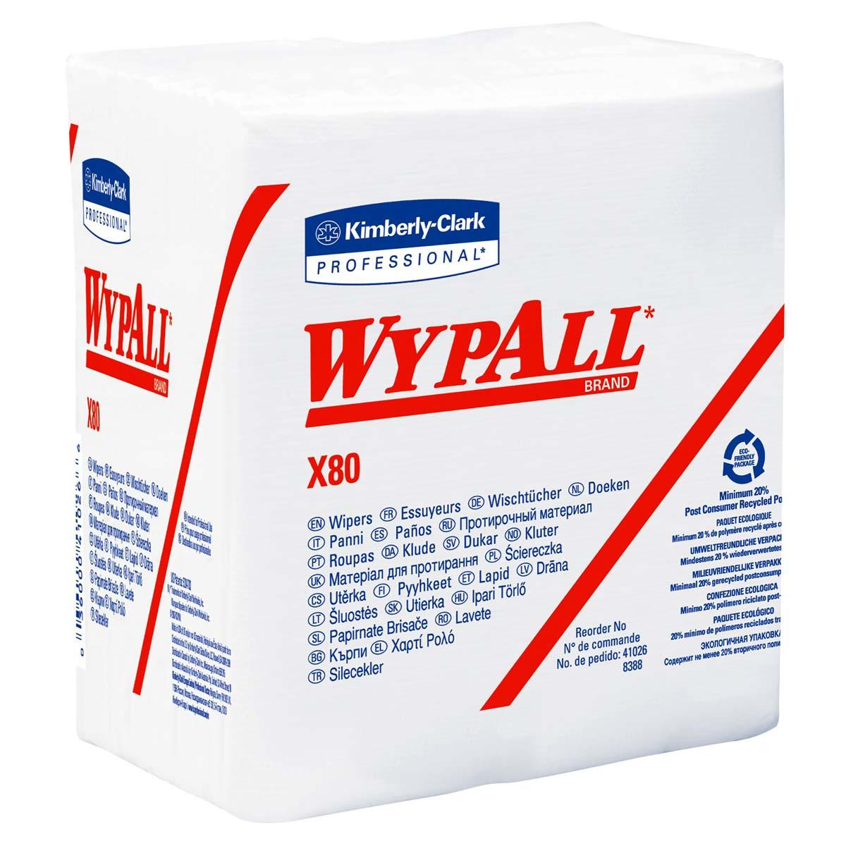 Wypall X80 Reusable Wipes (41026), Extended Use Wipers Quarter-fold Format, White, 50 Sheets / Pack; 4 Packs / Case; 200 Folded Sheets / Case