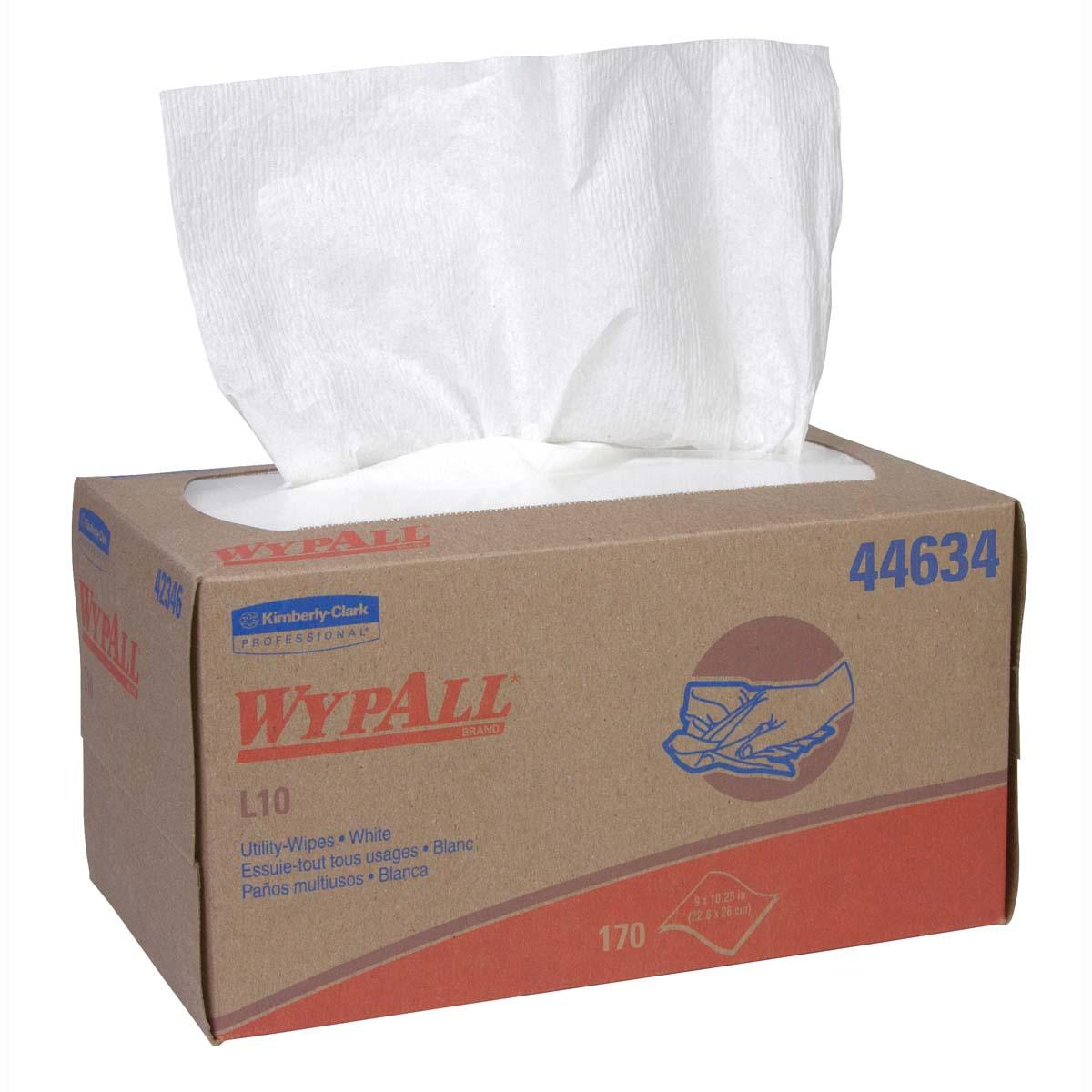 Wypall L10 Disposable Wipers (44634), Limited Use / Lightweight, 1-PLY, Pop-Up Box, White, 24 Boxes / Case, 170 Wipes / Box