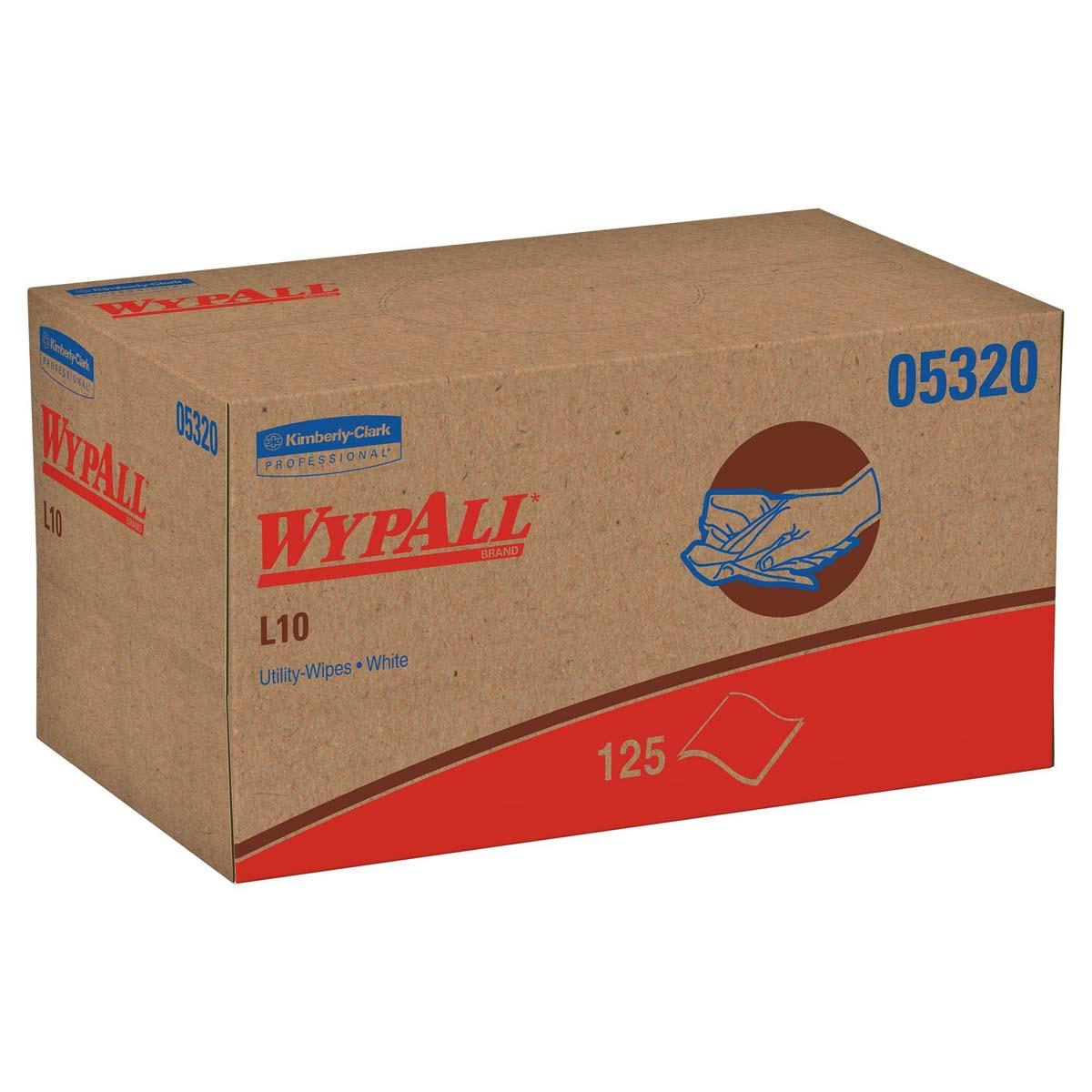 Wypall L10 Disposable Wipers (05320), Limited Use, 1-PLY, Pop-Up Box, White, 18 Boxes / Case, 125 Wipes / Box