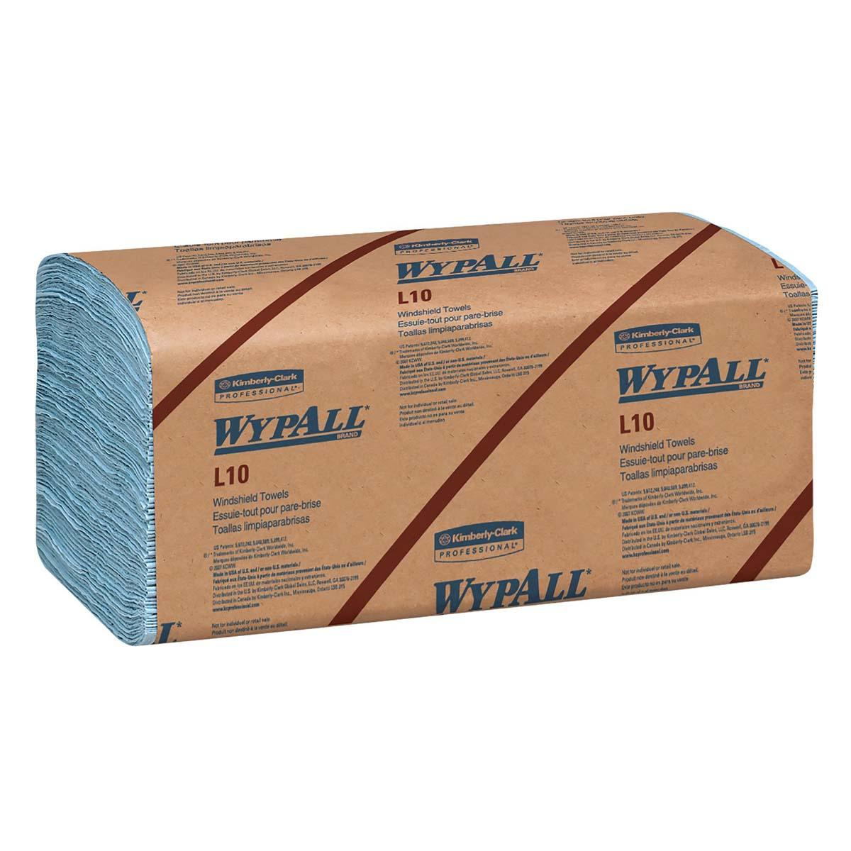 Wypall L10 Disposable Wipers (05120), Windshield Wipe, 2-PLY, Banded, Blue, 16 Packs / Case, 140 Wipes / Pack, 2,400 Sheets / Case