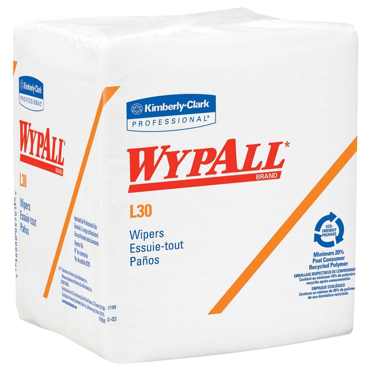 Wypall L30 DRC Wipers (05812), Strong and Soft Wipes, White, 12 Packs / Case, 90 Wipers / Pack