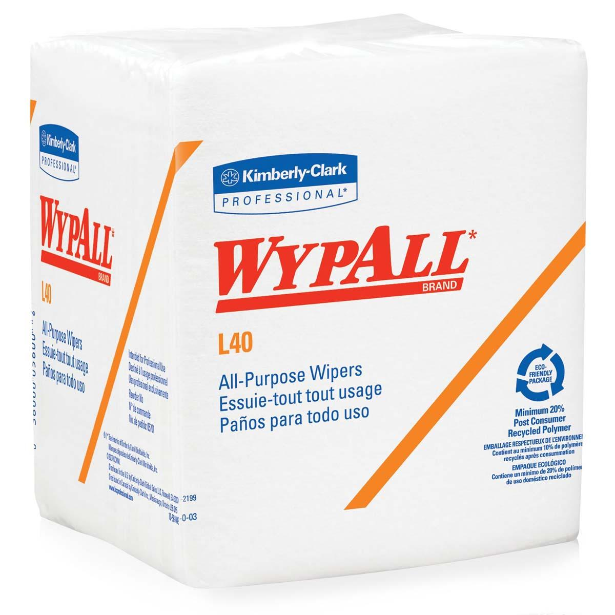 WypAll L40 Disposable Cleaning and Drying Towels (05701), Limited Use Wipers, White,18 Packs per Case, 56 Sheets per Pack, 1,008 Sheets Total