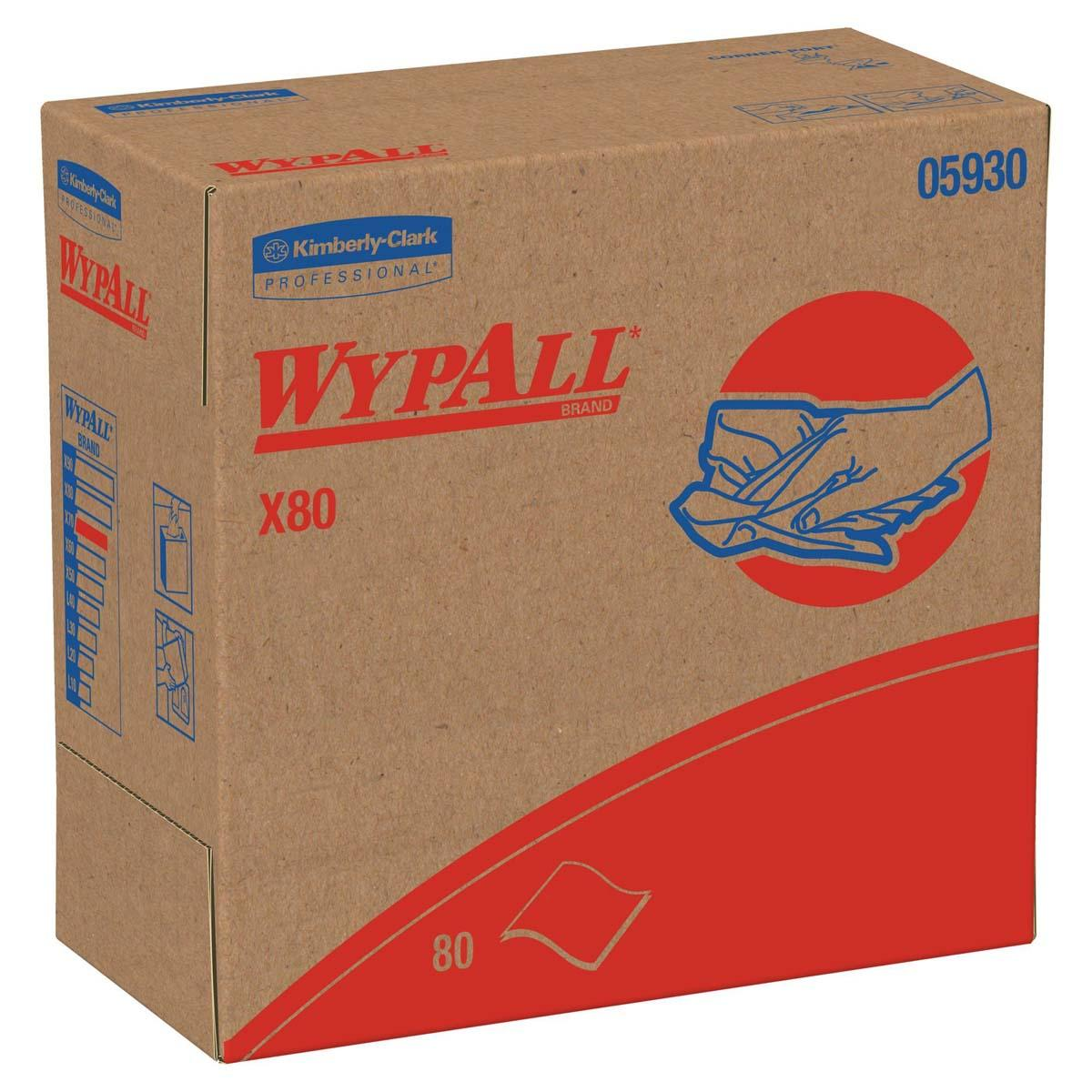 Wypall X80 Reusable Wipes (05930), Extended Use Wipers, Red, 80 Sheets / Pop-Up Box; 5 Boxes / Case