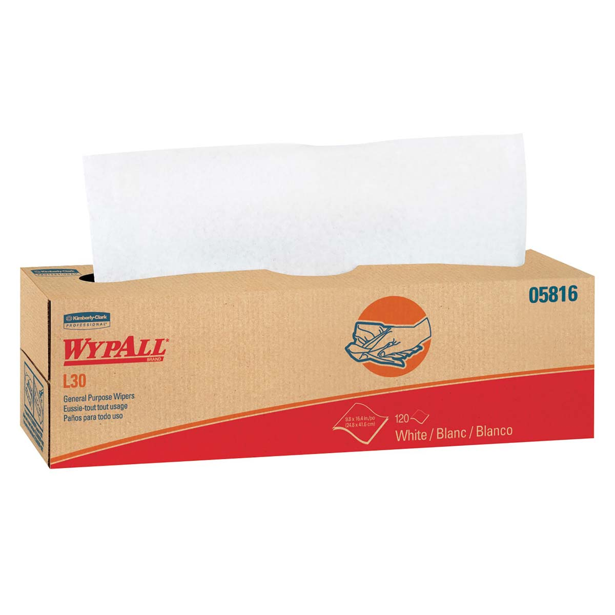 Wypall L30 DRC Wipers (05816), Strong and Soft Wipes, White, 120 Sheets / Pop-Up Box, 6 Boxes / Case, 720 Wipes / Case