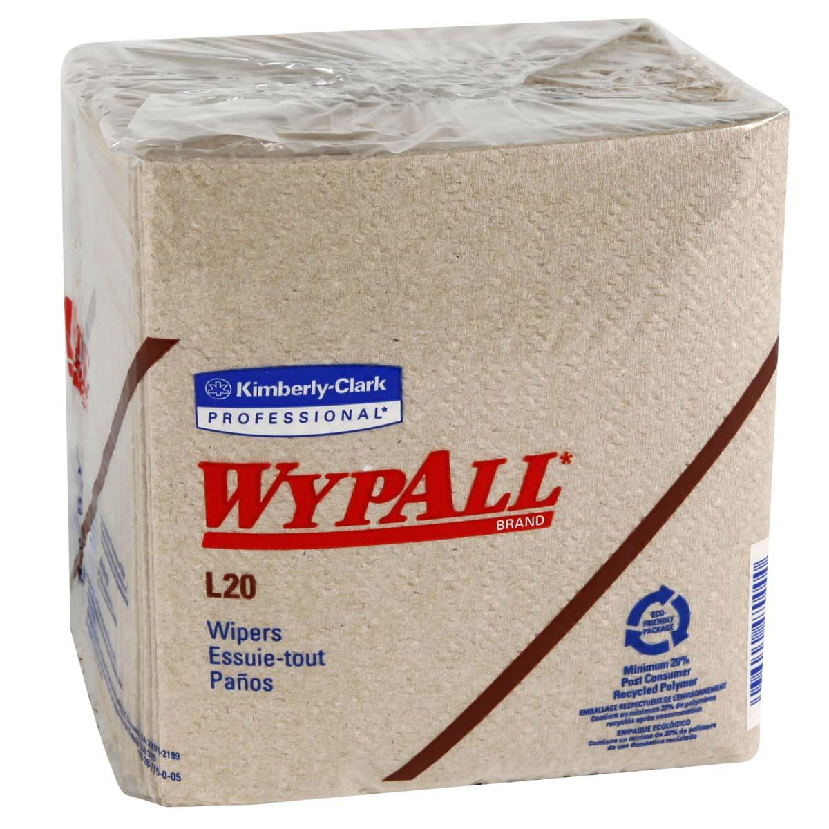 WypAll L20 Limited Use Wipers (47000), Quarterfold Format, Tan / Natural, 2-Ply, 12 Packs / Case, 68 Sheets / Pack