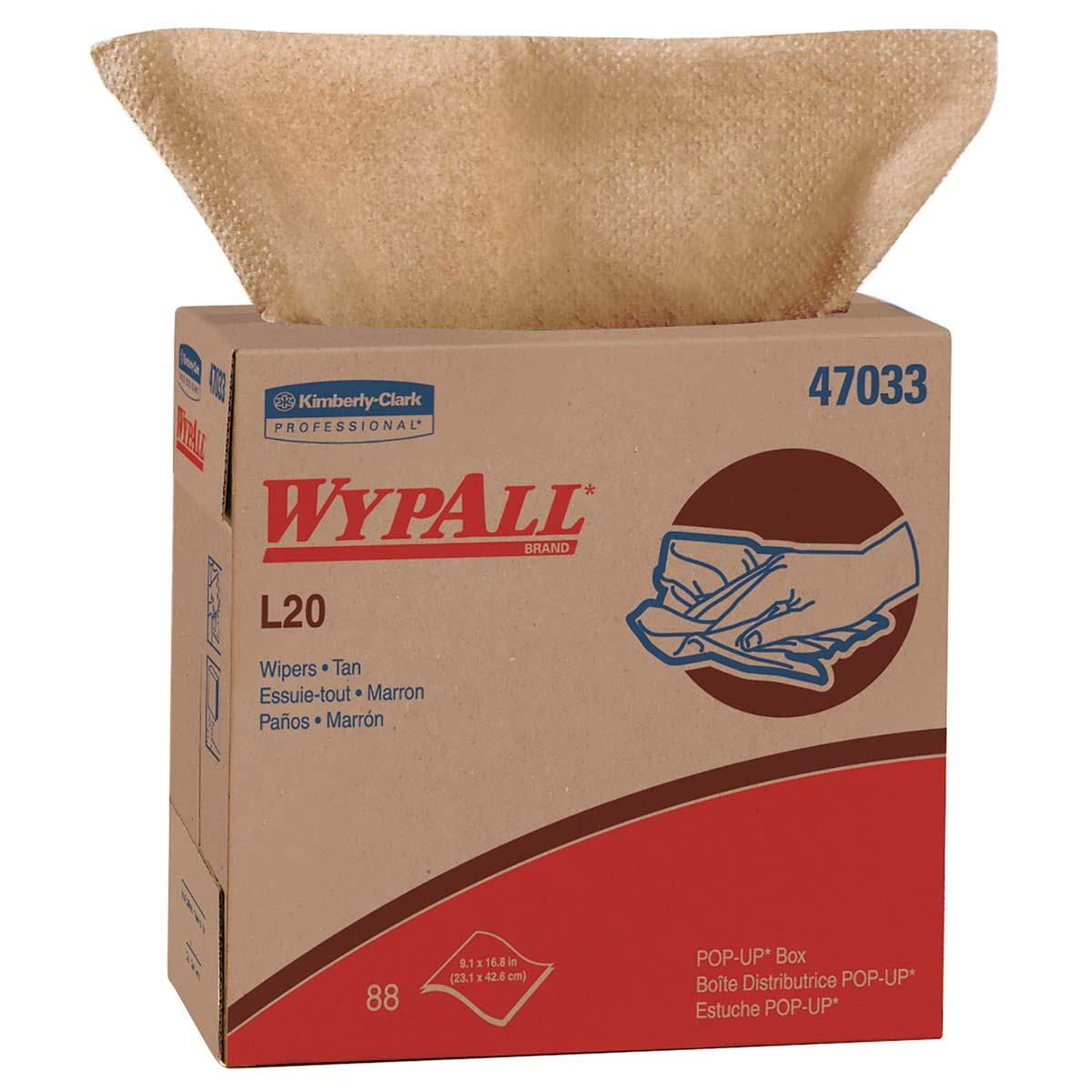 WypAll L20 Limited Use Wipers (47033), Pop-Up Box, Natural Color, 2-Ply, 10 Boxes / Case, 88 Sheets / Box