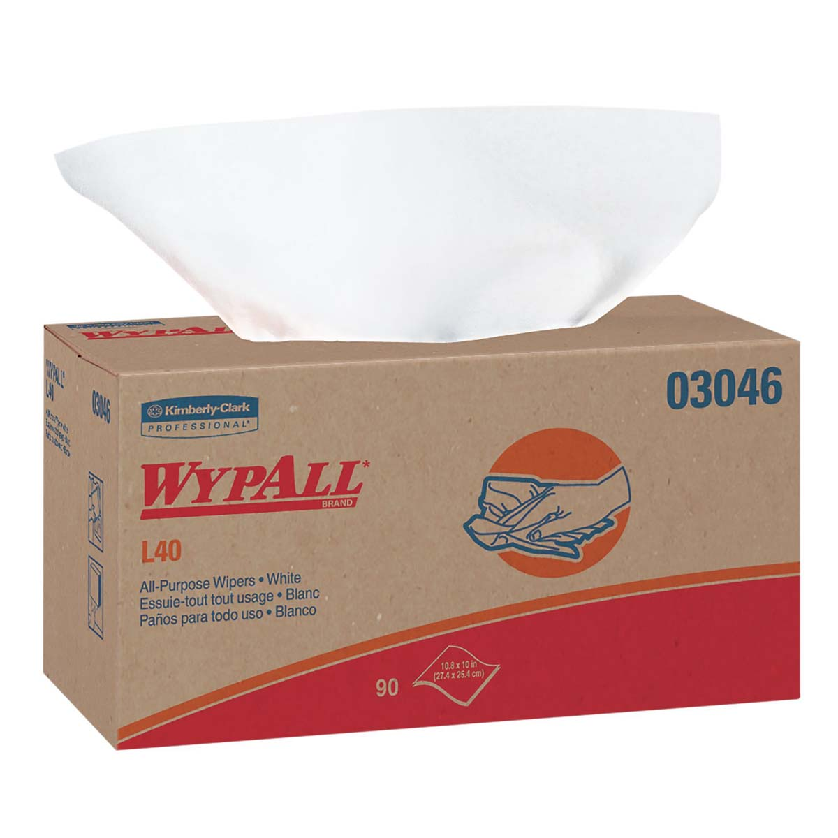 WypAll L40 Disposable Cleaning and Drying Towels (03046), Limited Use Wipers, White, 9 Pop Up Boxes per Case, 90 Sheets per Box, 810 Sheets Total